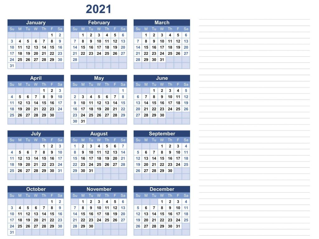 2021 Yearly Calendar Template With Notes
