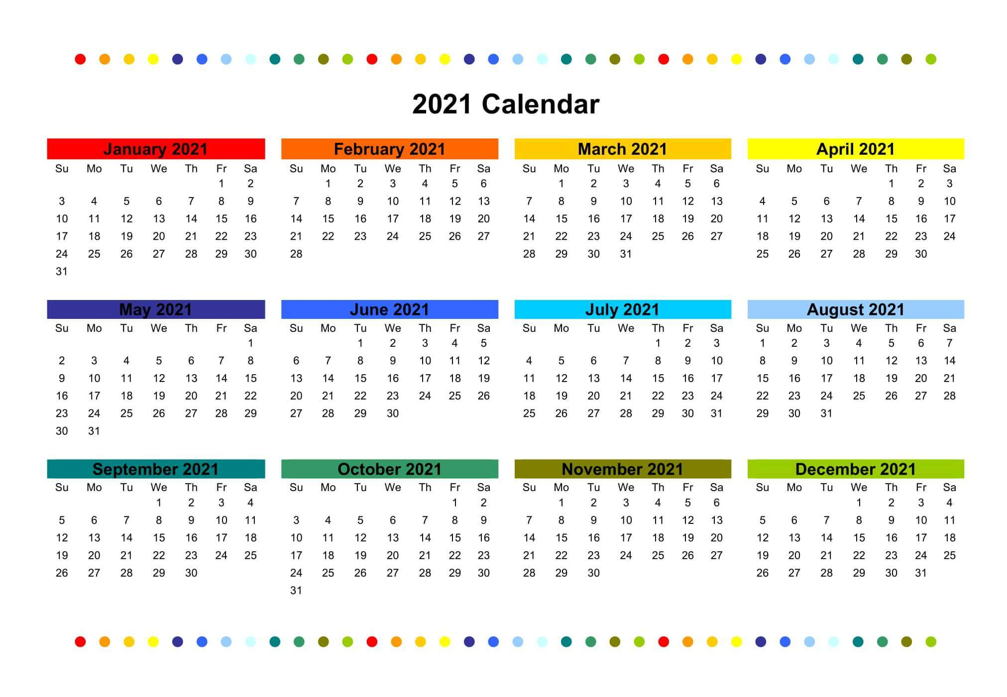 Colorful Yearly Calendar 2021 Printable