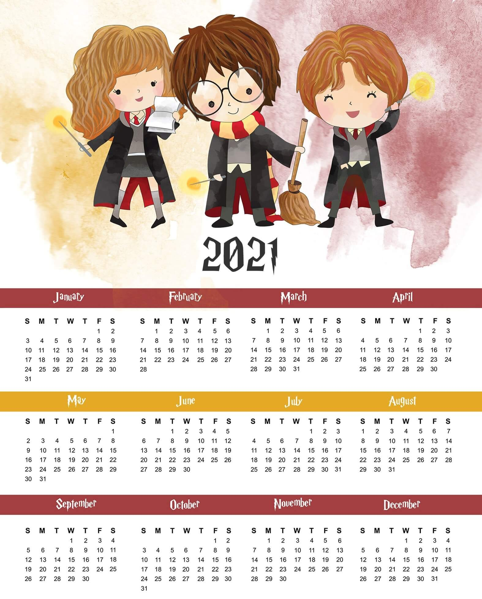 Cute Printable Yearly Calendar 2021