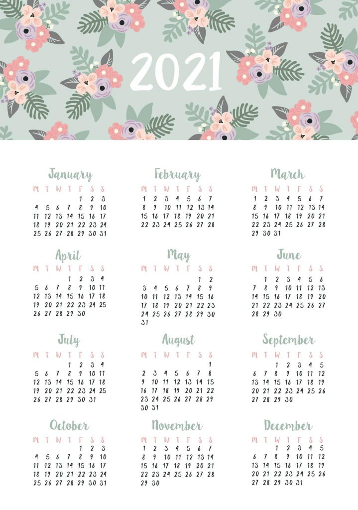 Free Cute Printable Yearly Calendar 2021