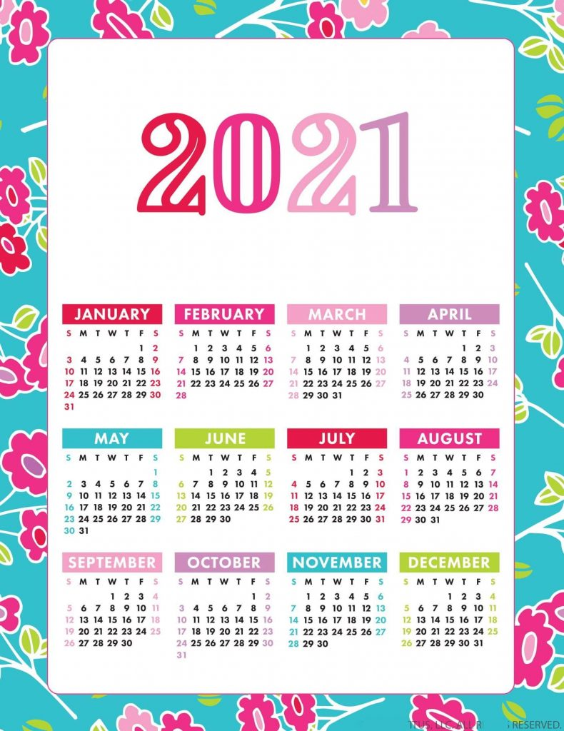 Free Printable 2021 Calendar On One Page