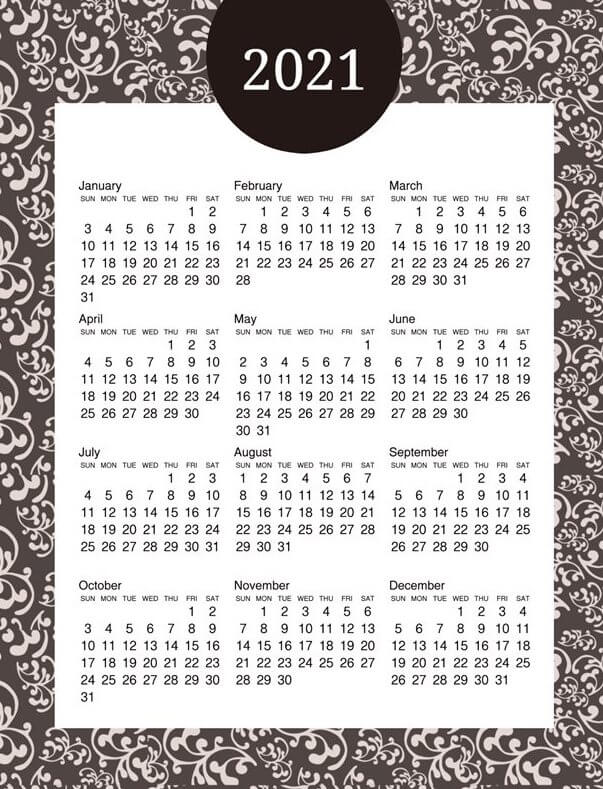 Free Printable 2021 Yearly Calendar On One Page