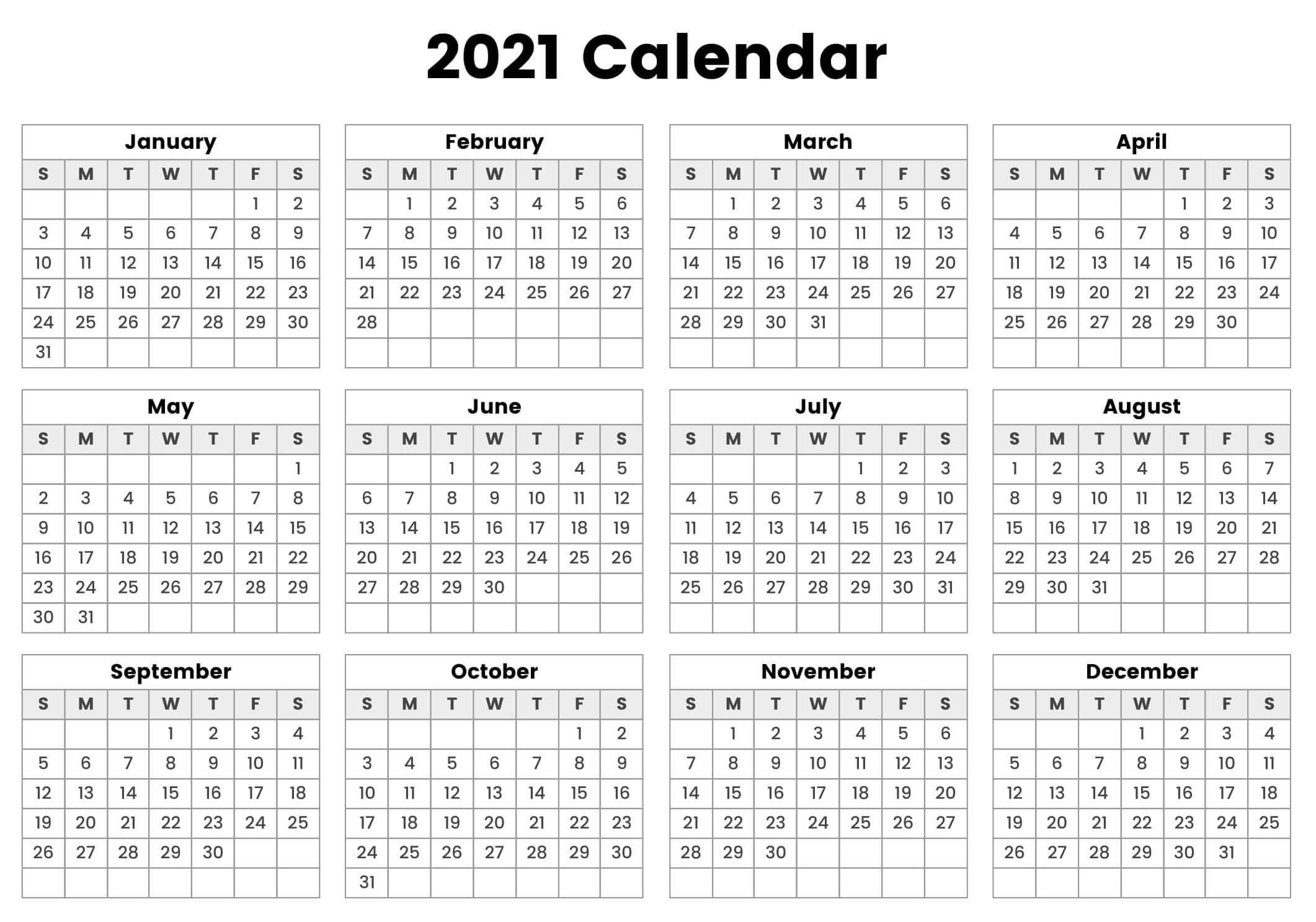Free Printable 2021 Yearly Calendar Template