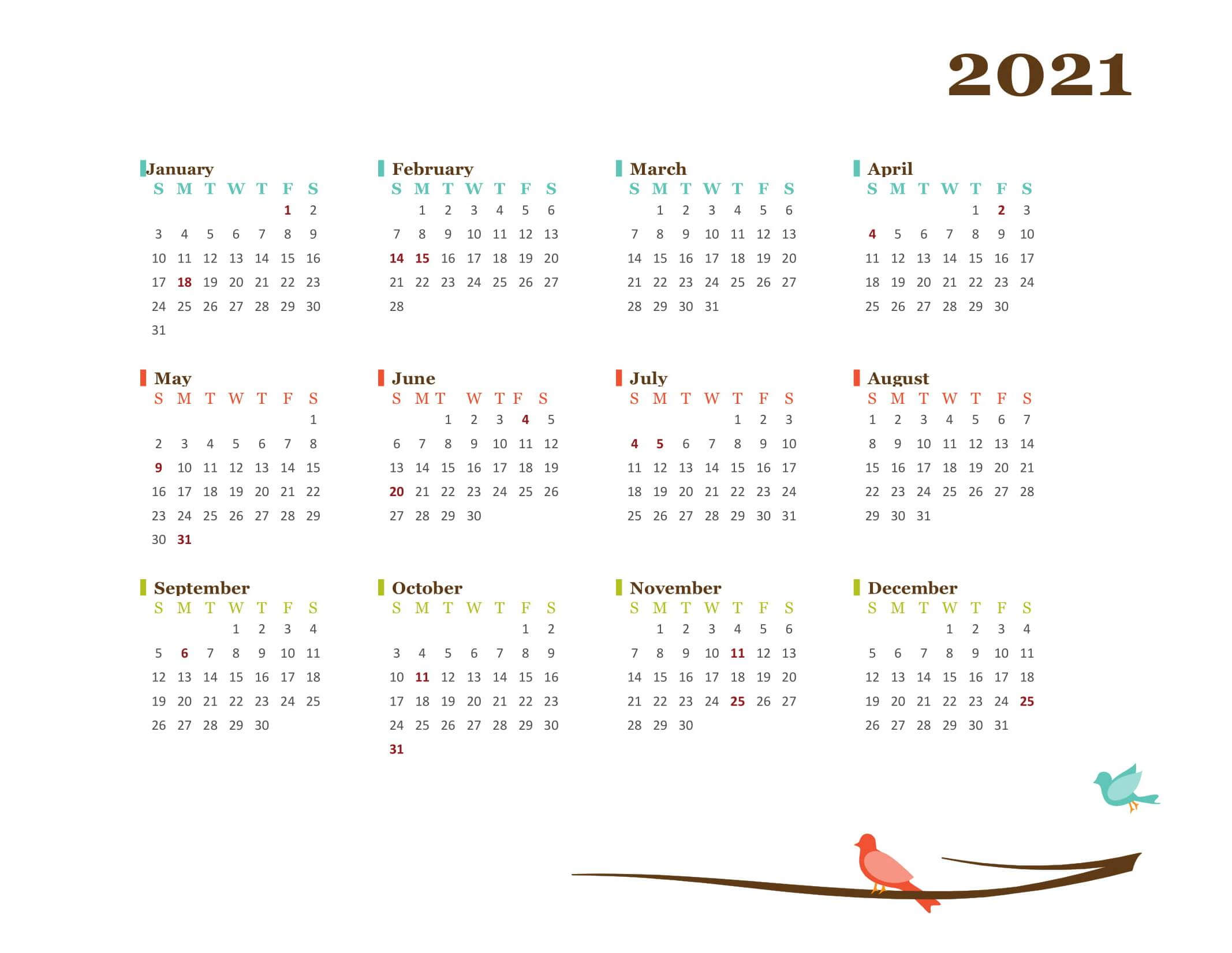 Large Yearly Calendar 2021 Printable