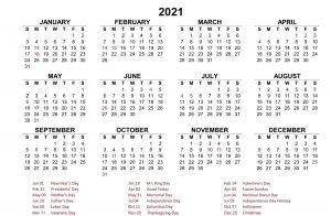 New Year Calendar 2021 With Holidays