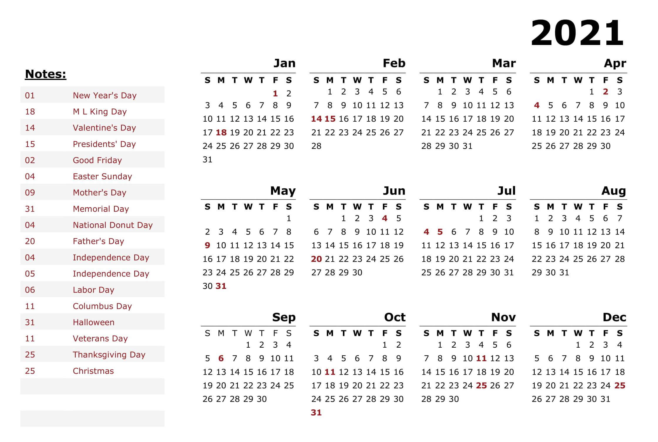 New Year Calendar With Holidays 2021
