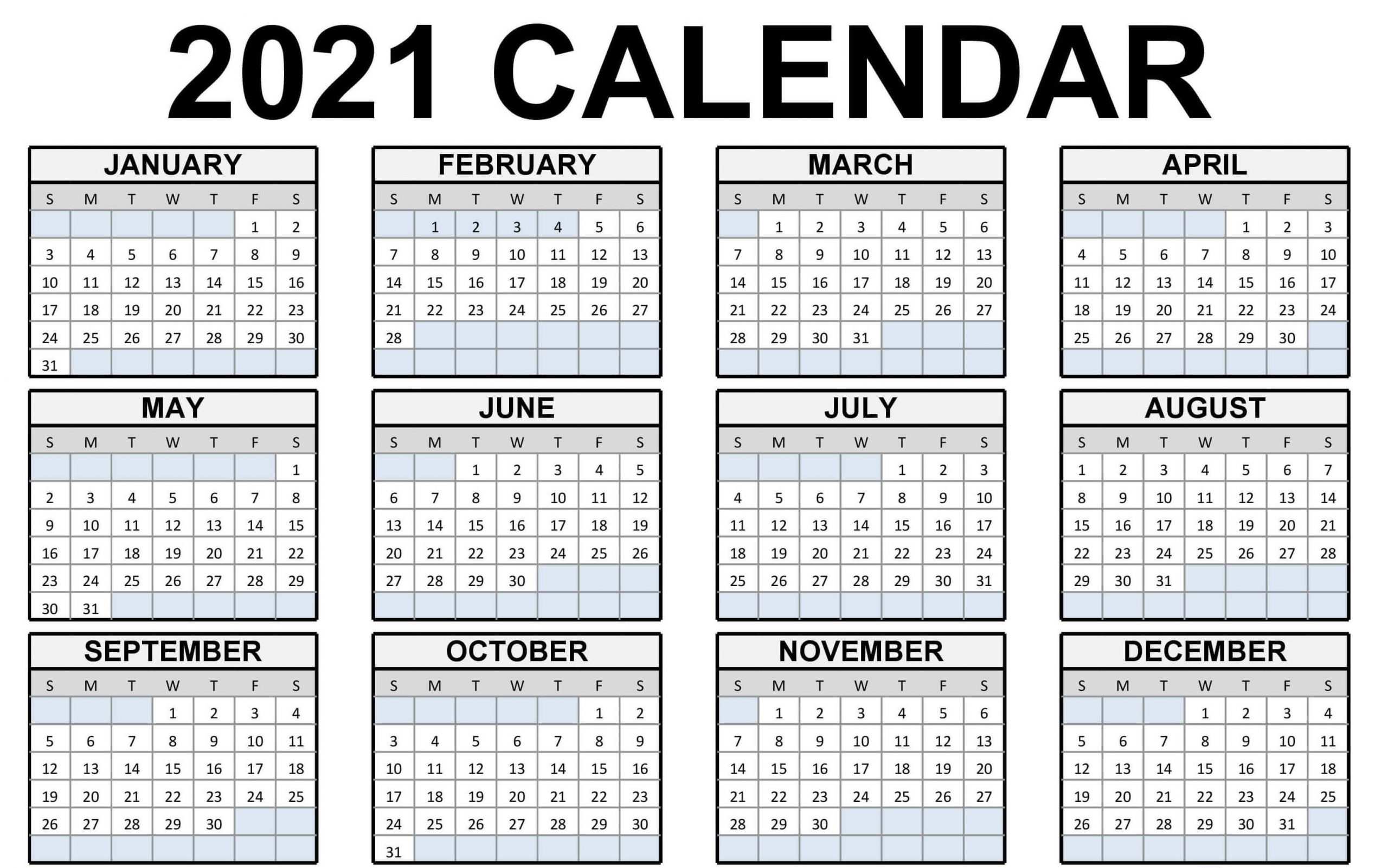 Printable Yearly Calendar 2021 Excel