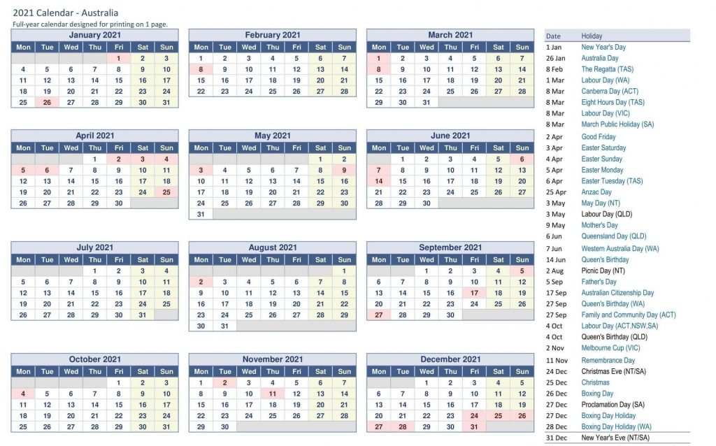 Printable Yearly Calendar Australia