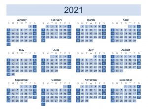 Small Yearly Calendar 2021