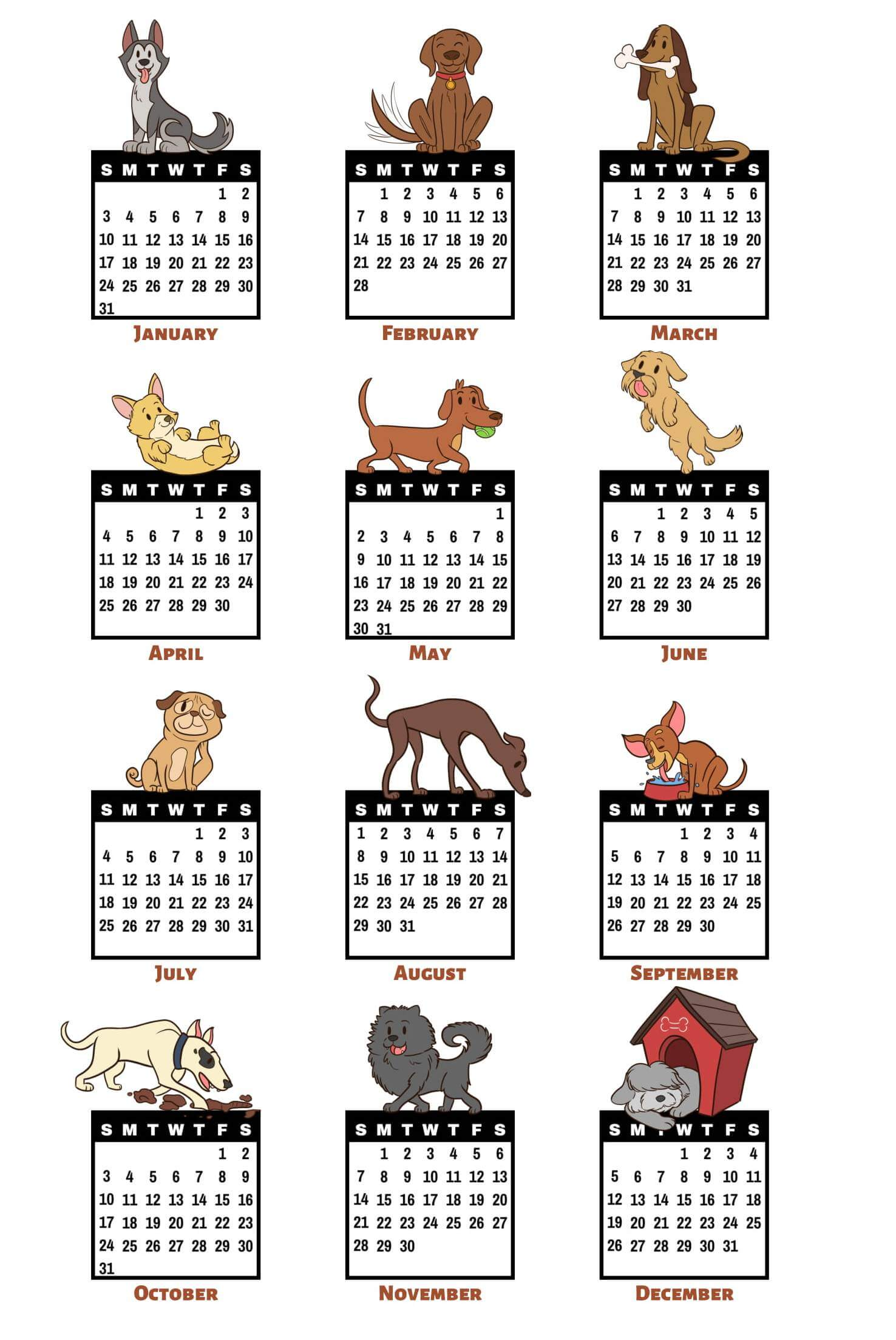 Year Calendar 2021 Printable One Page