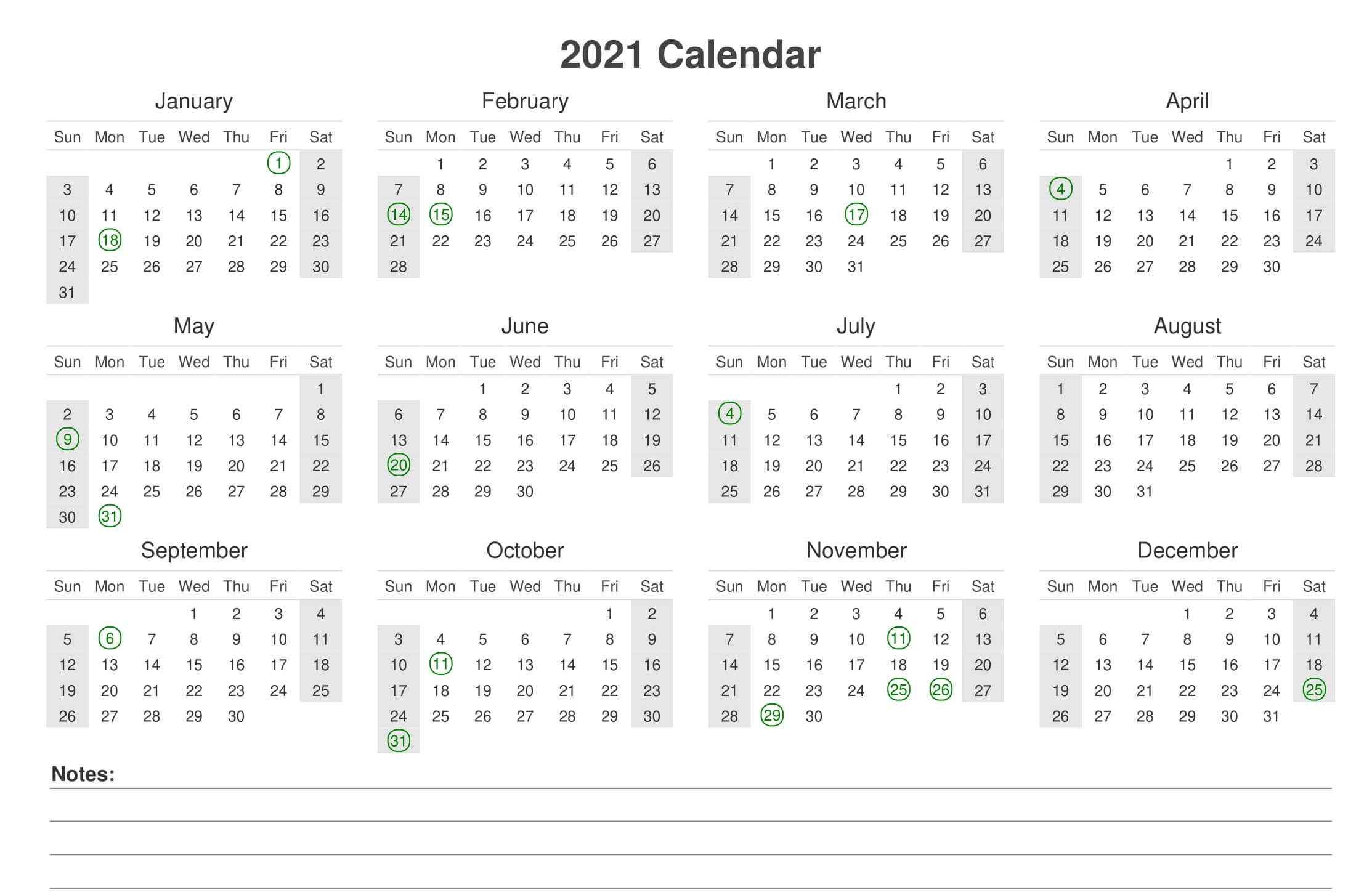 Yearly 2021 Calendar With Notes