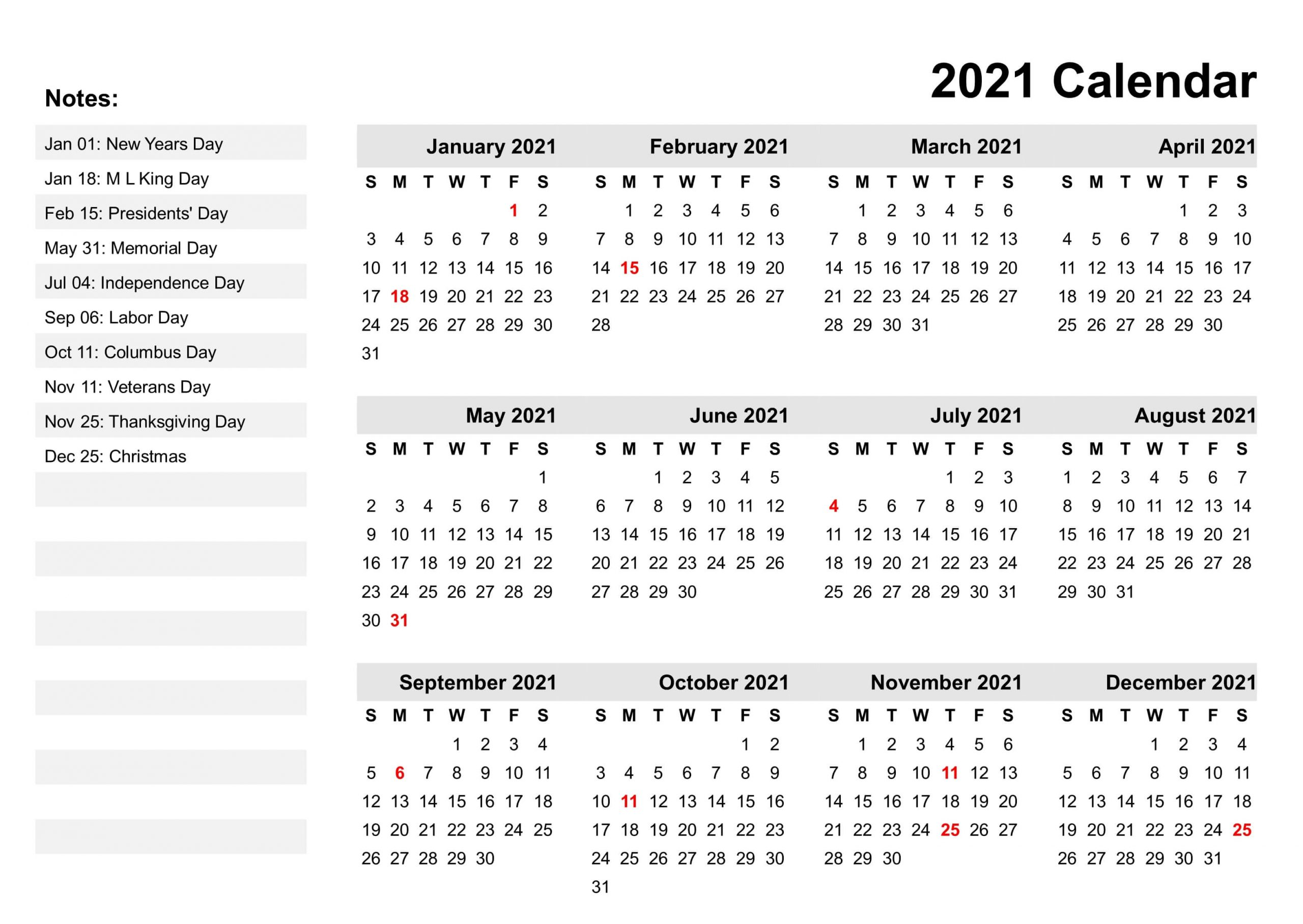 Yearly Calendar 2021 Events