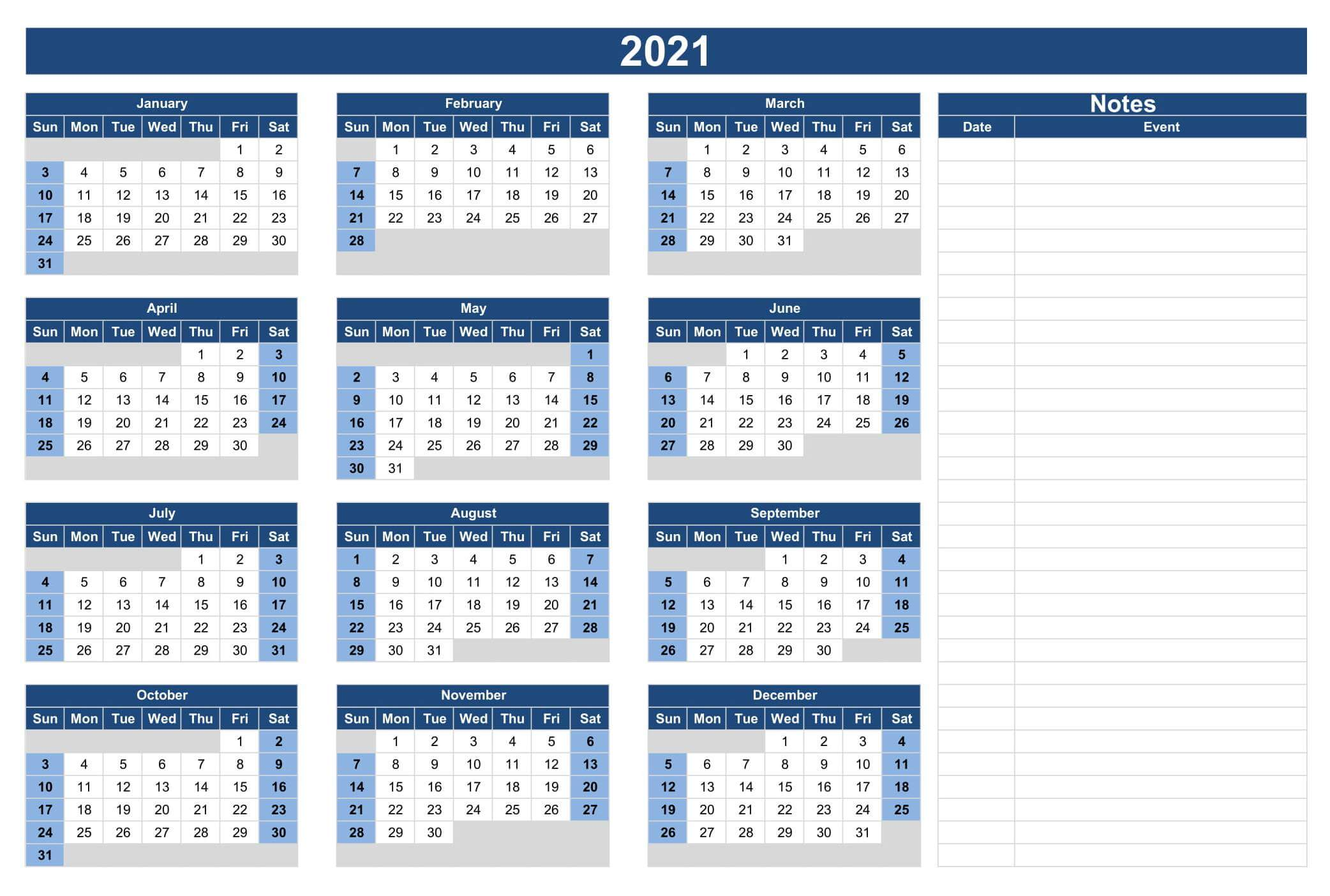 Yearly Calendar 2021 With Notes