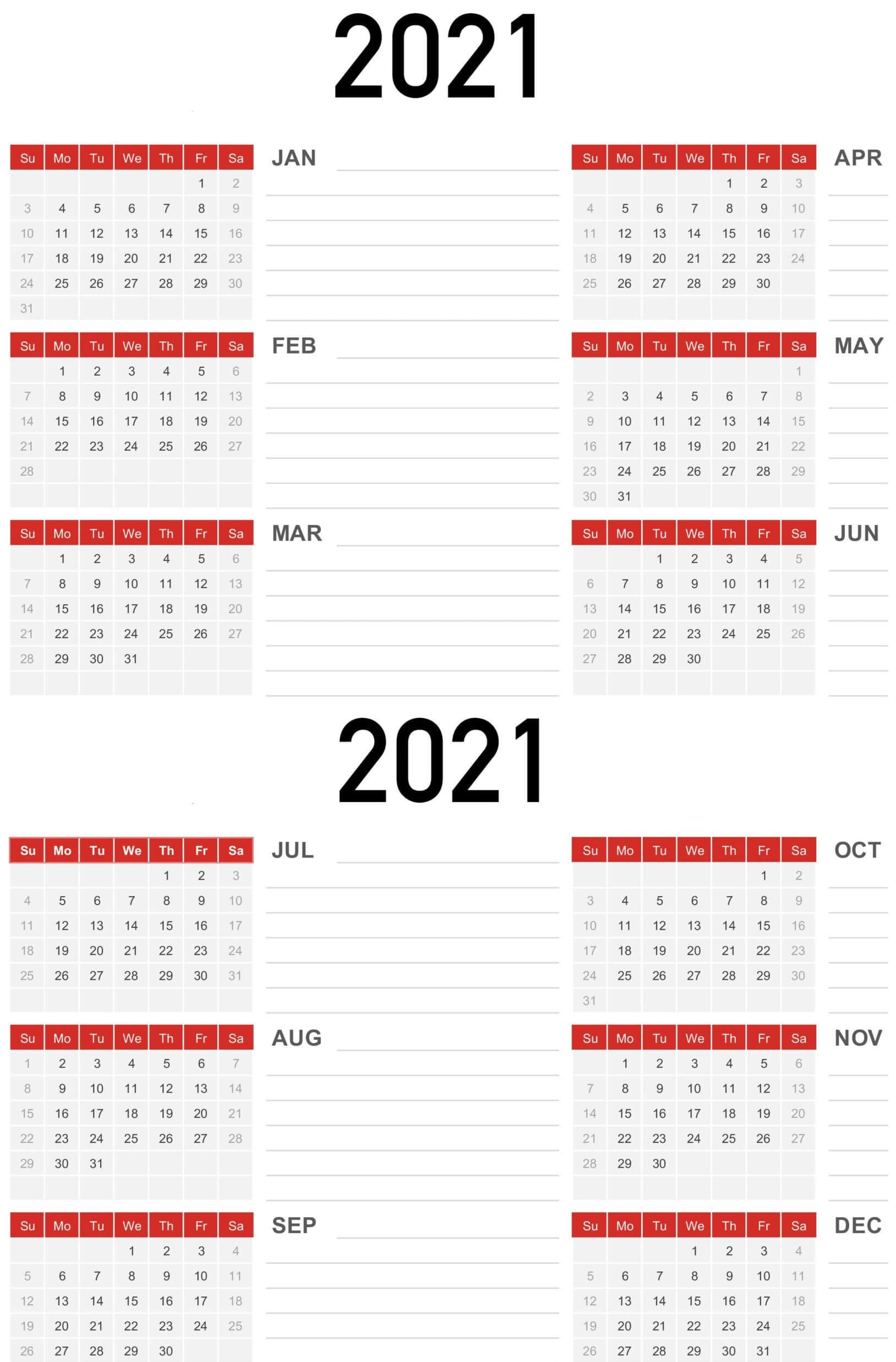 Yearly Calendar Template With Notes 2021