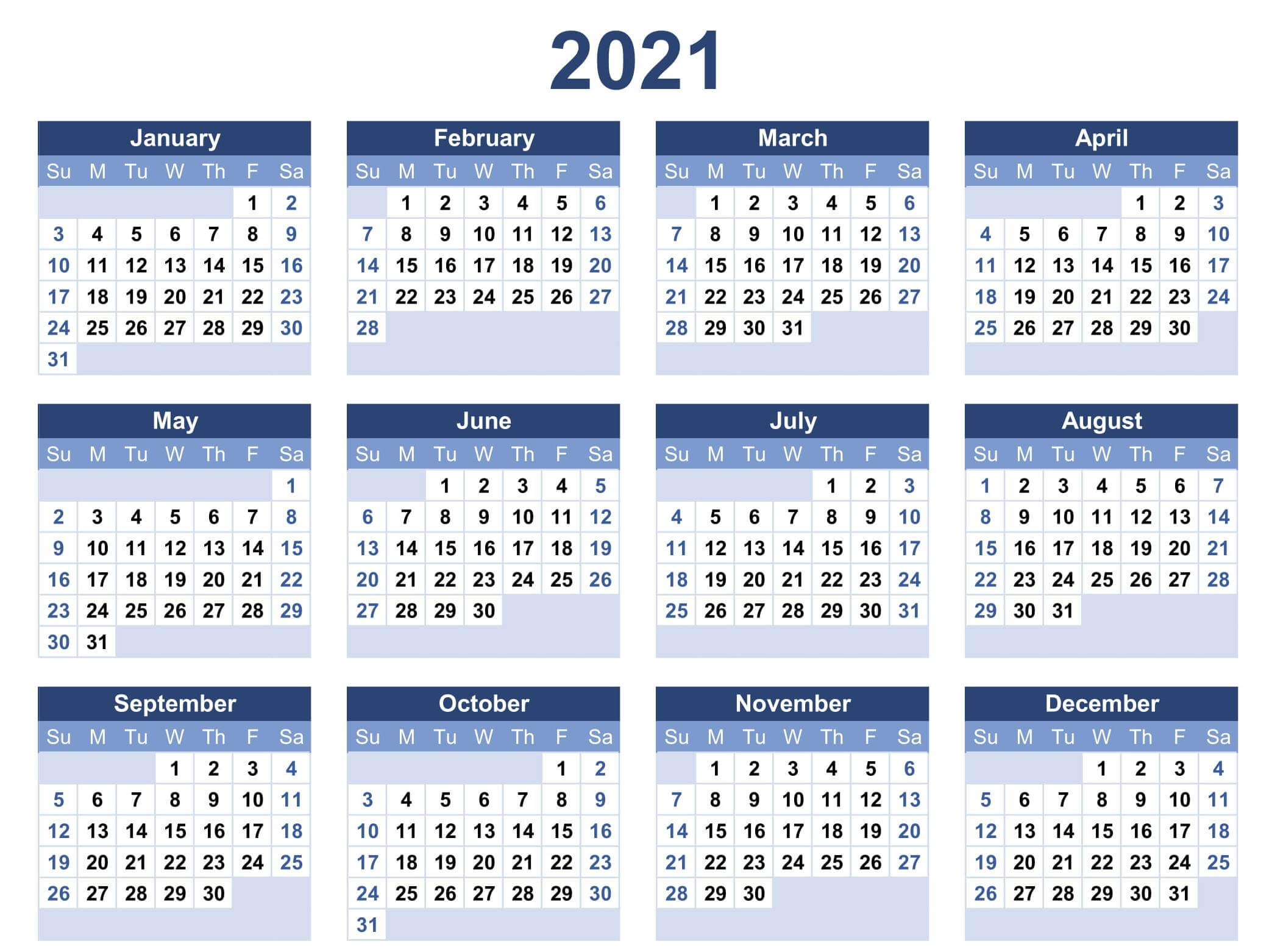 Yearly Calendar Template Word 2021