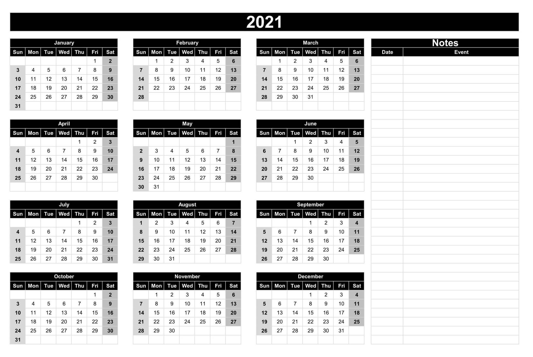 Yearly Calendar With Notes 2021