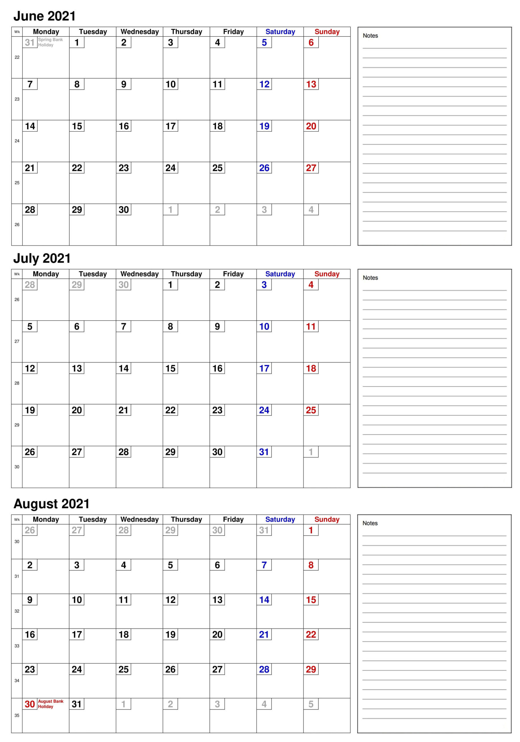 2021 June To August Calendar With Notes