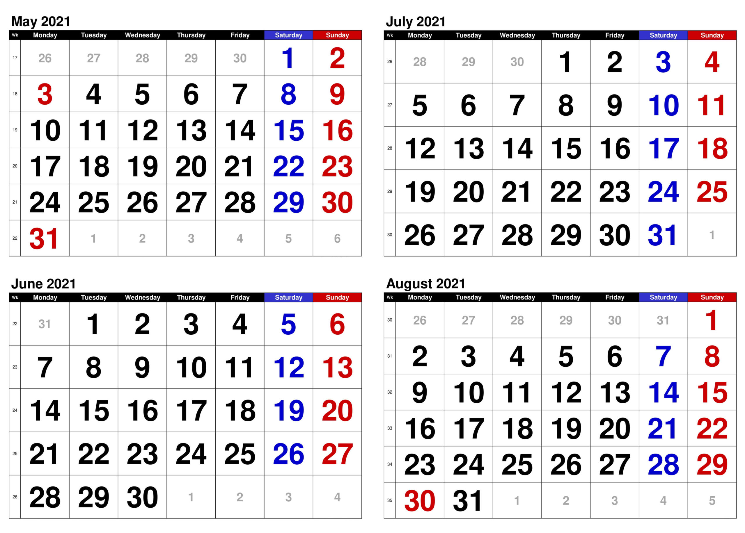 2021 May to August Calendar