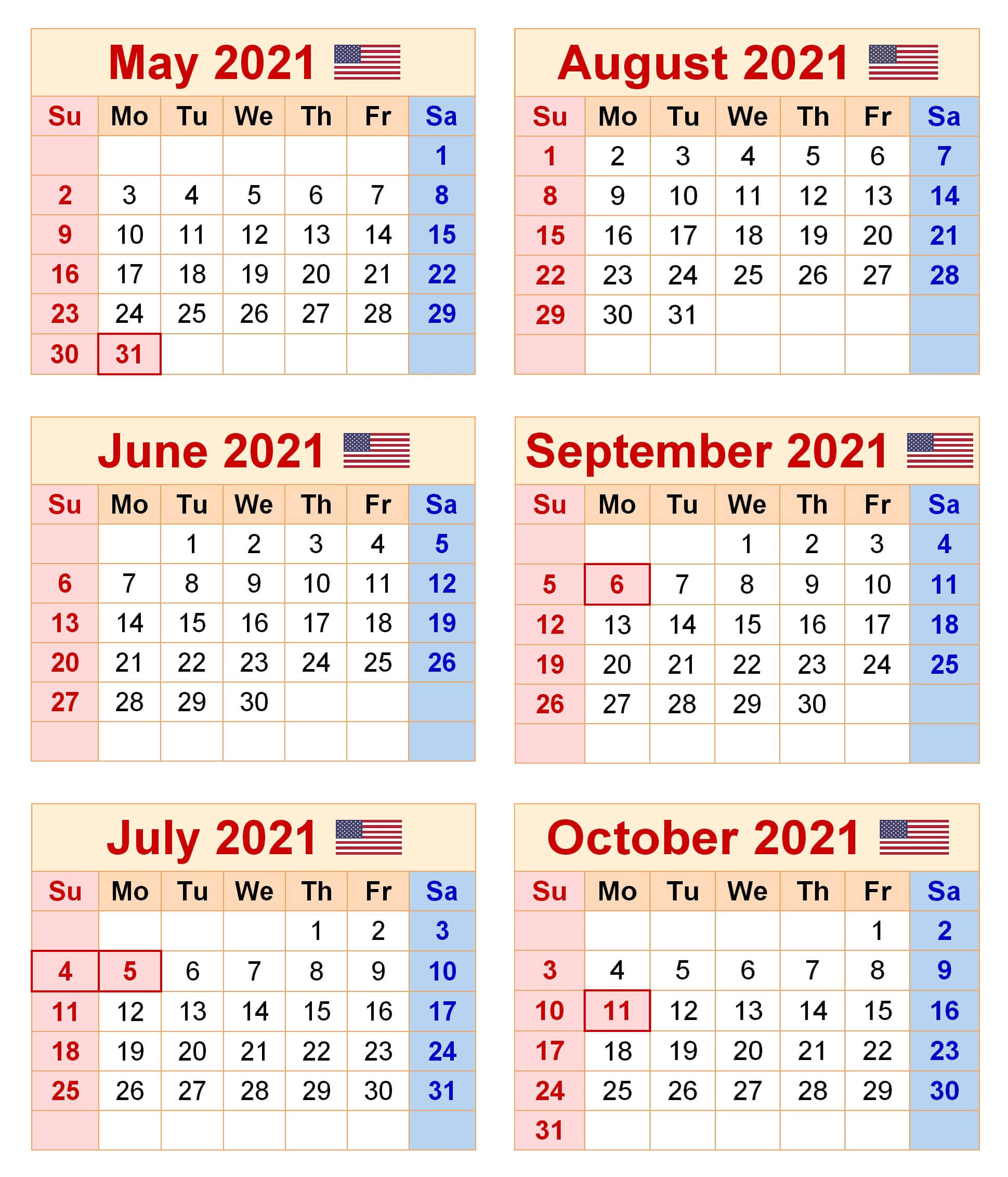 2021 May to October Calendar Excel