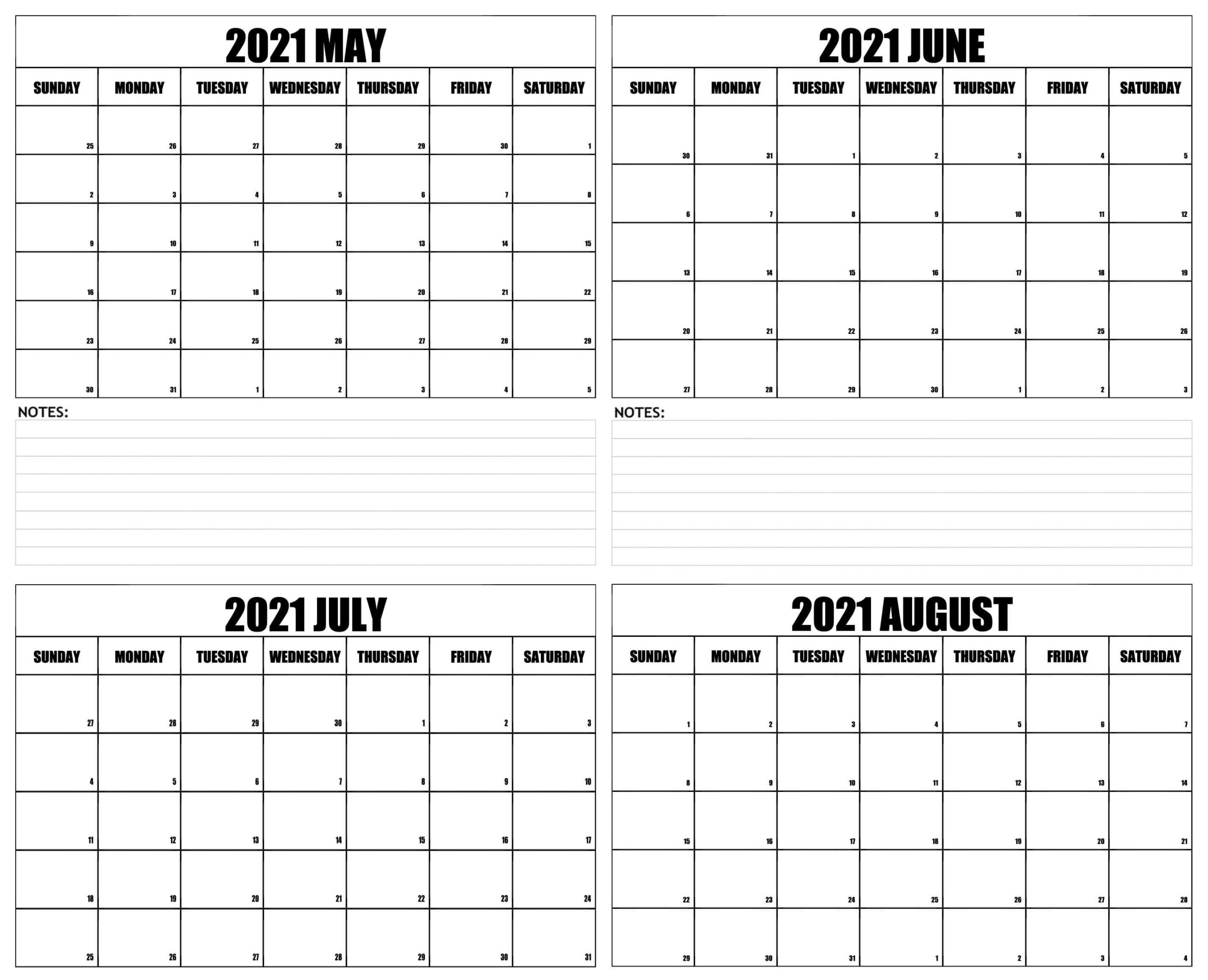 4 Month Calendar From May 2021