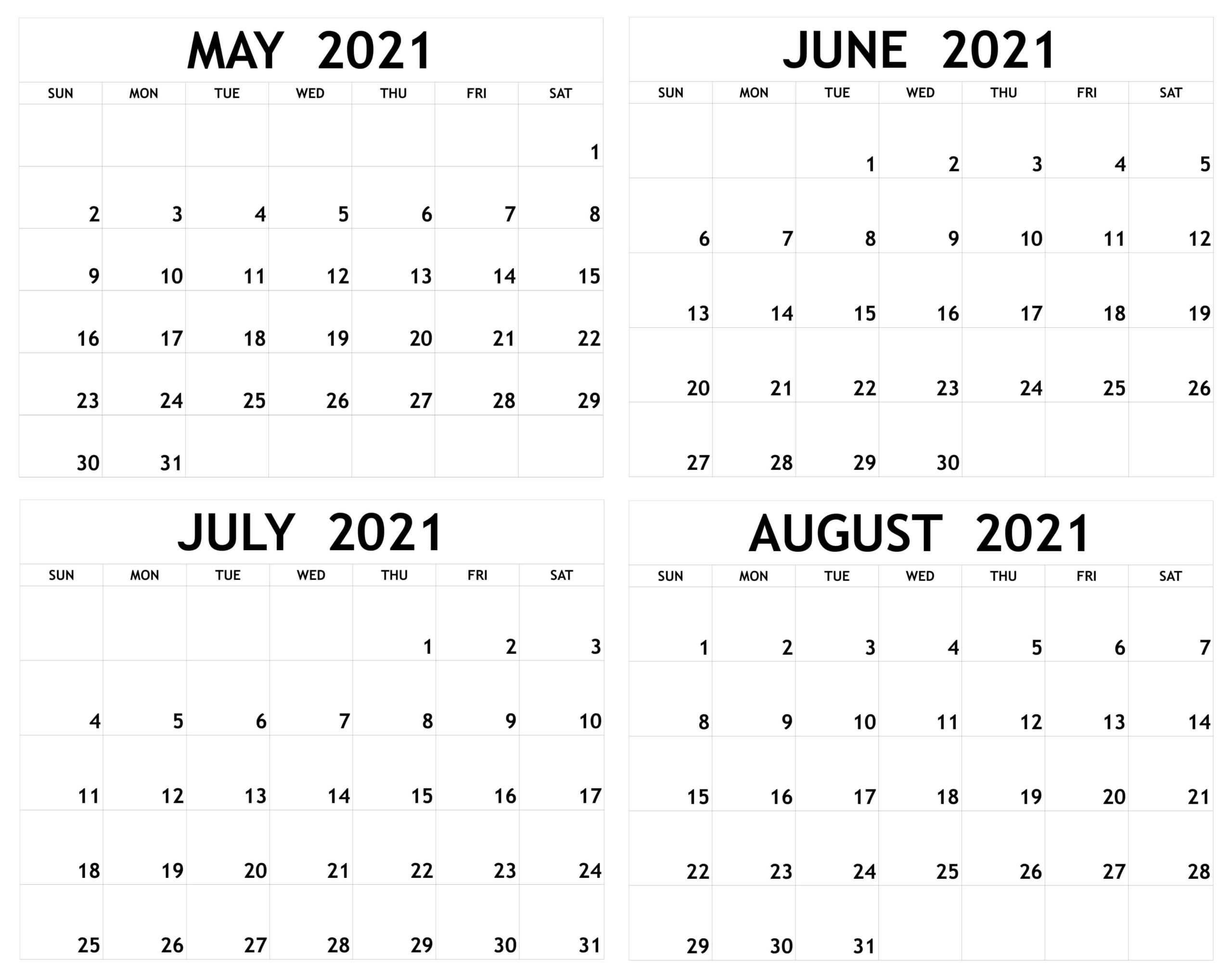 Blank May to August 2021 Calendar