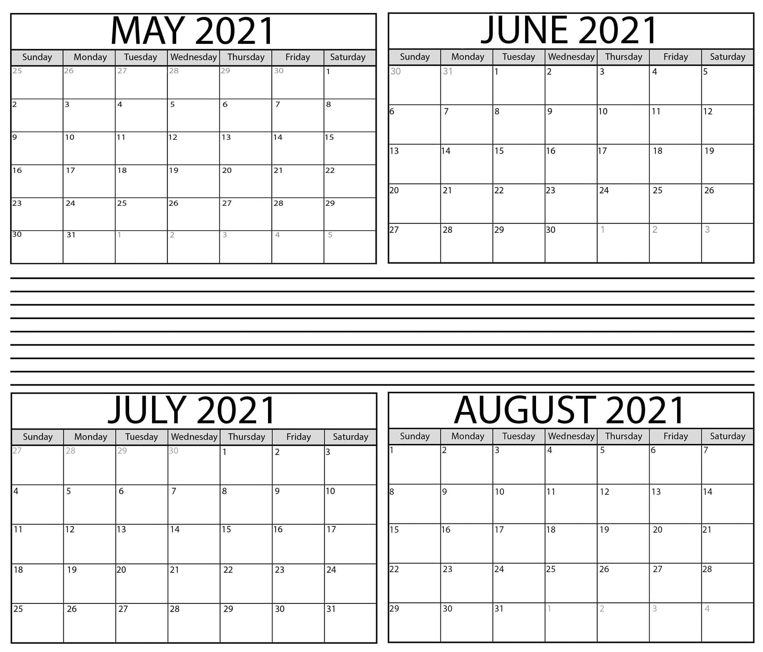 Free May to August 2021 Calendar