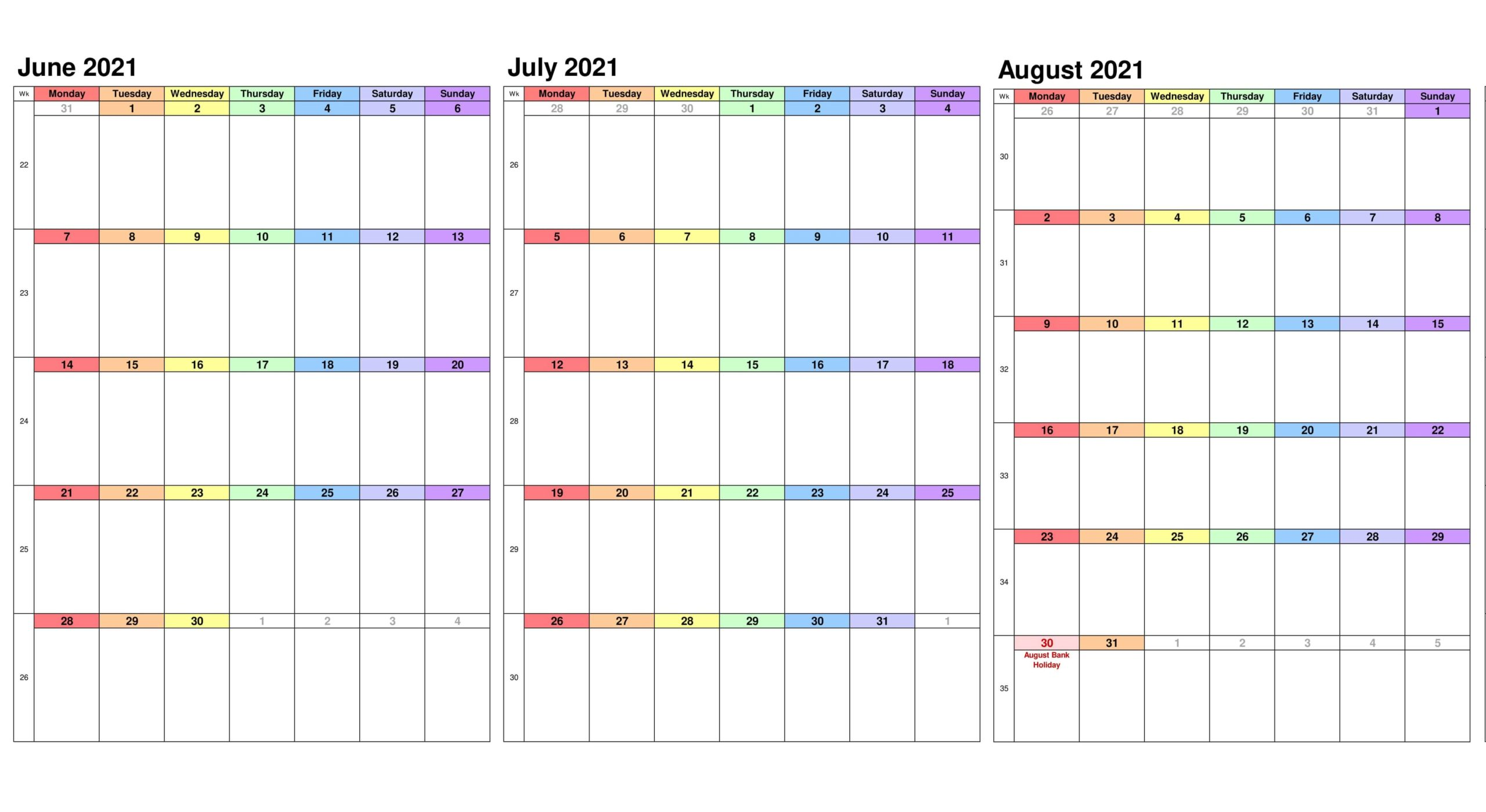 June To August 2021 Calendar With Holidays