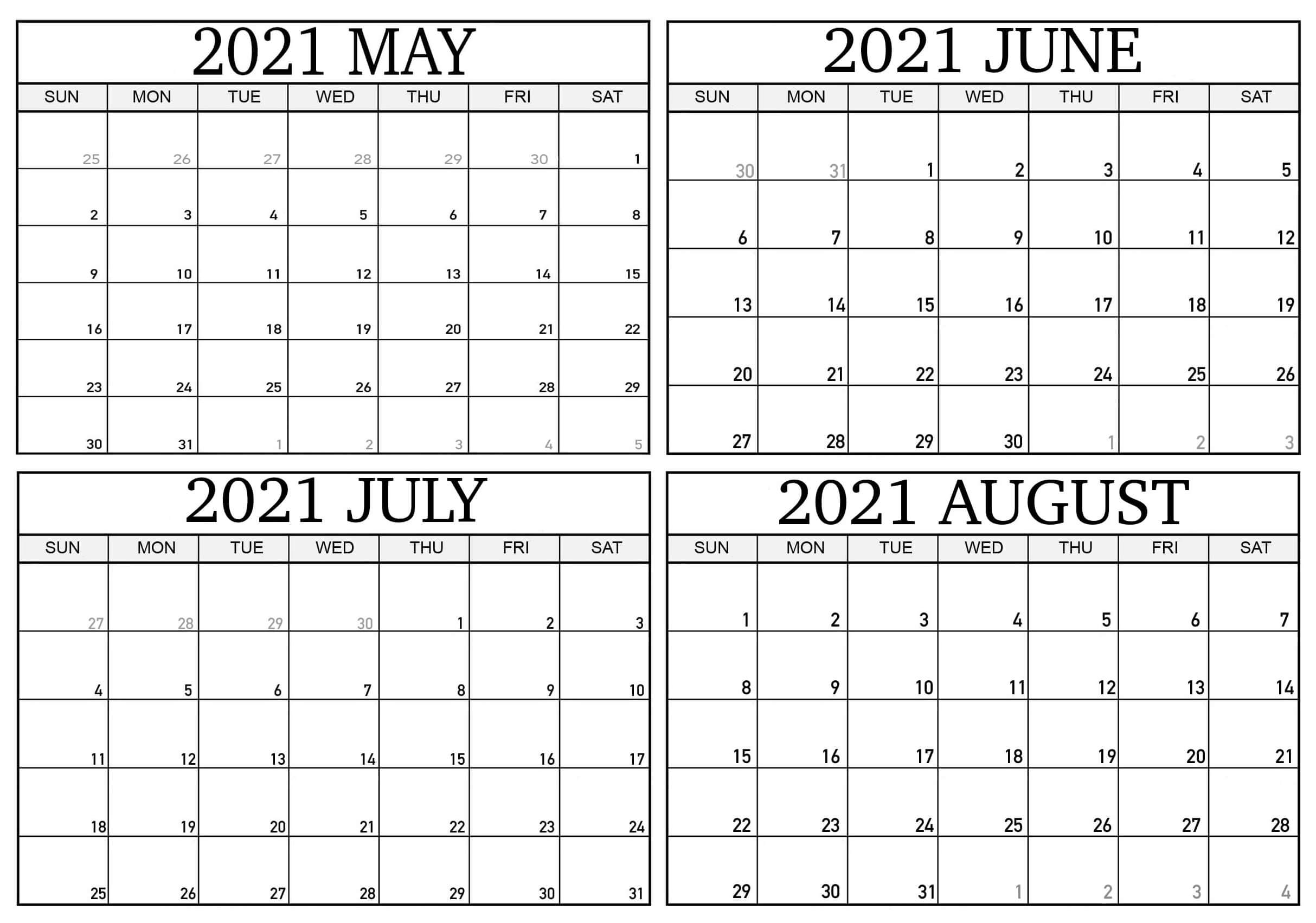 May to August 2021 Calendar Printable
