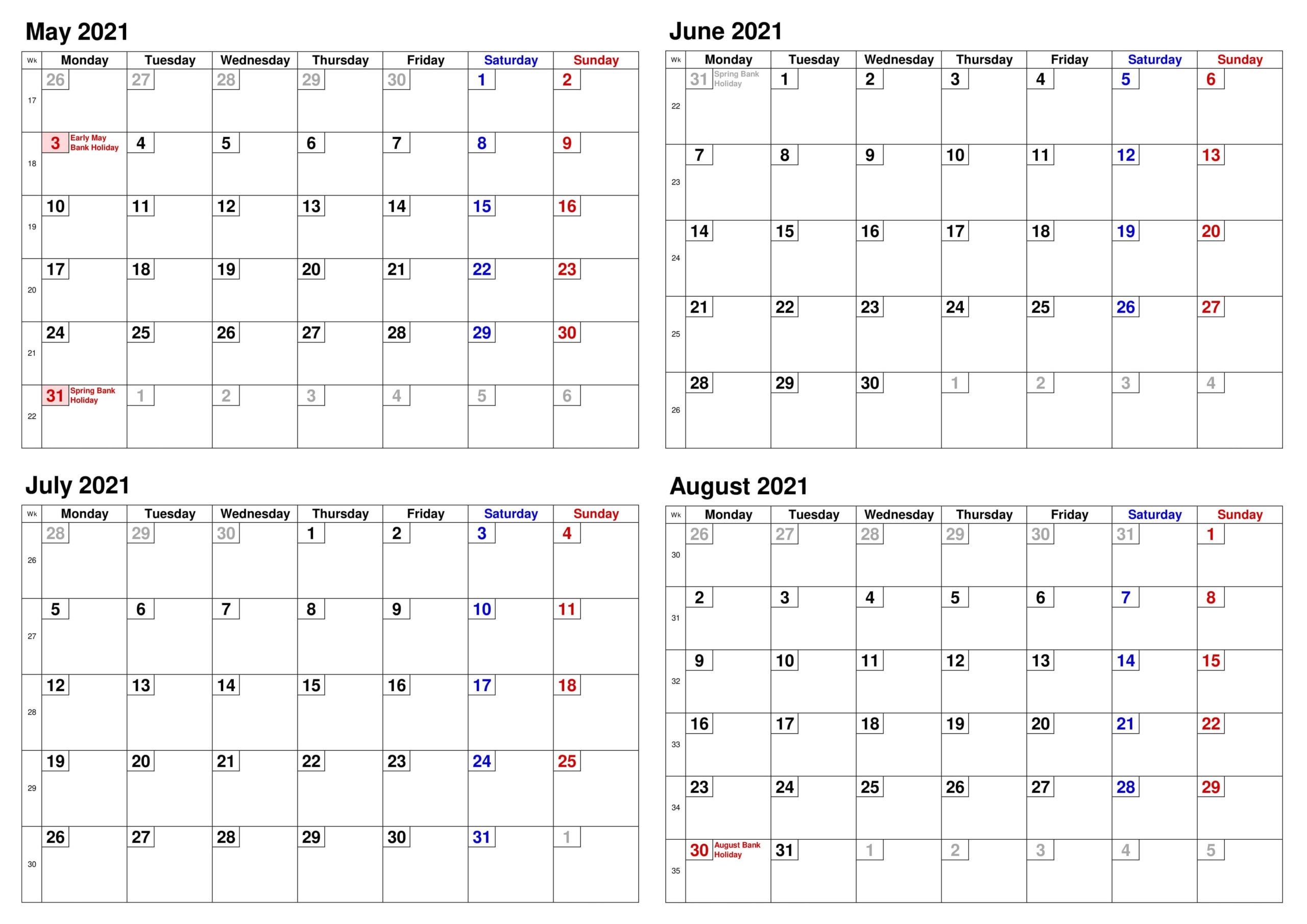 May to August 2021 Calendar With Holidays