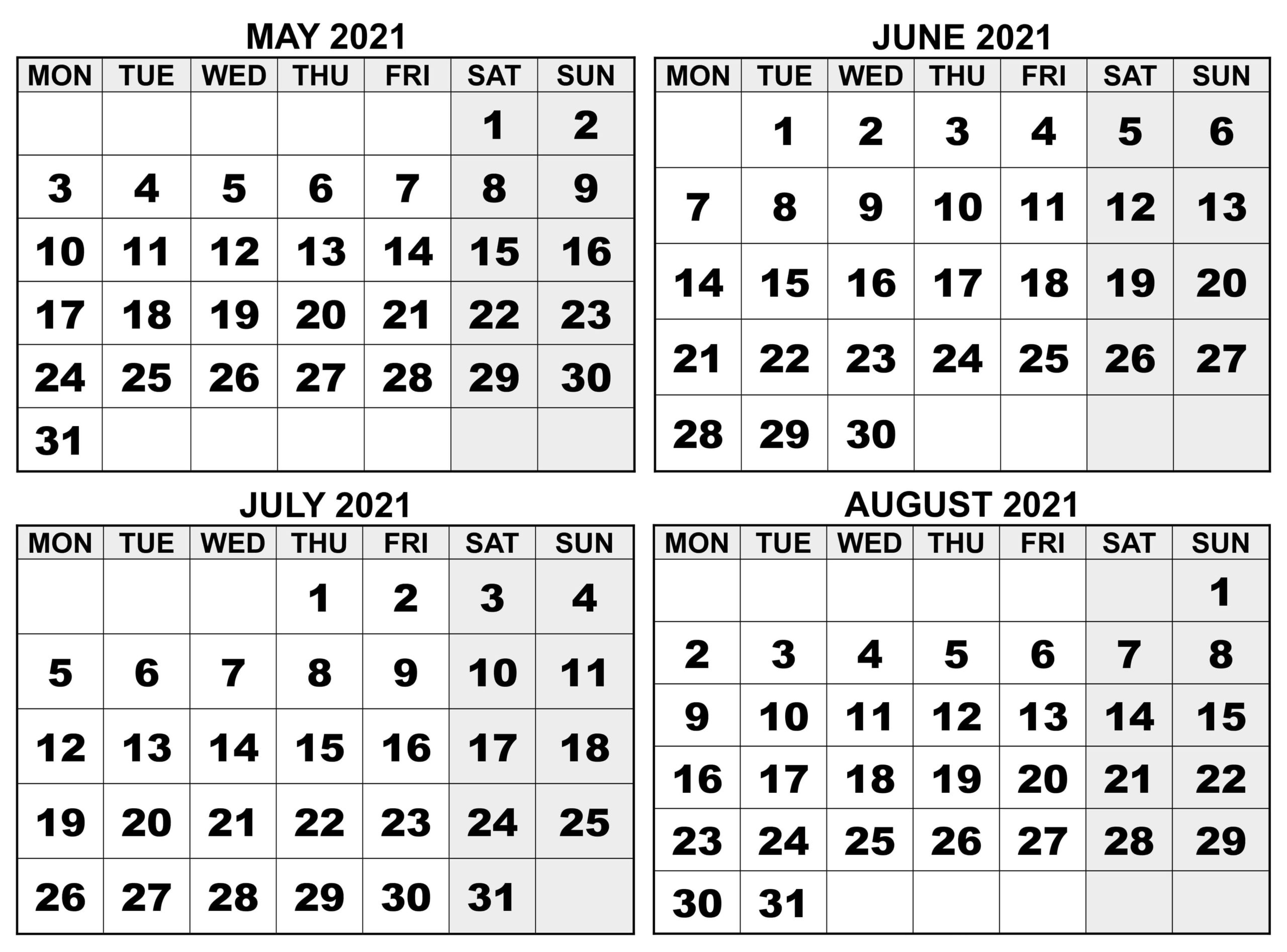May to August Calendar 2021