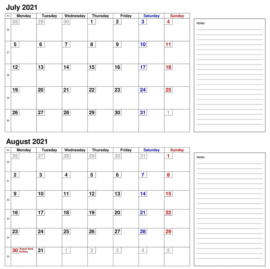 2021 July August Calendar With Notes