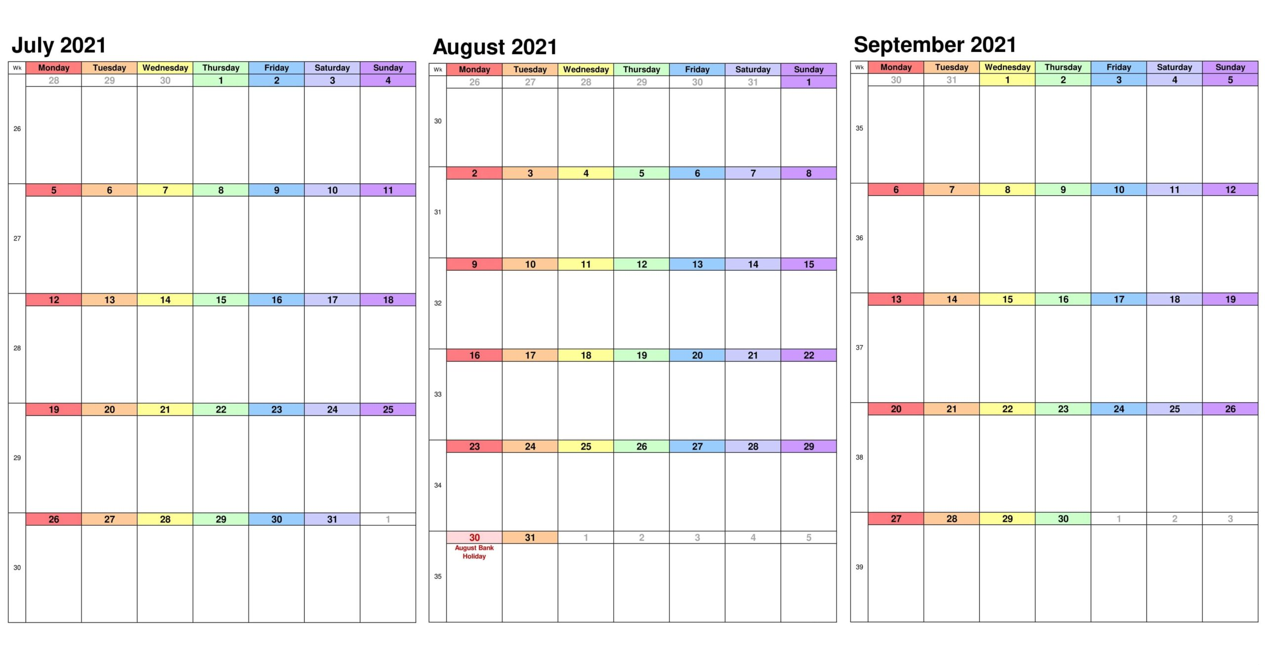 2021 July To September Calendar Excel