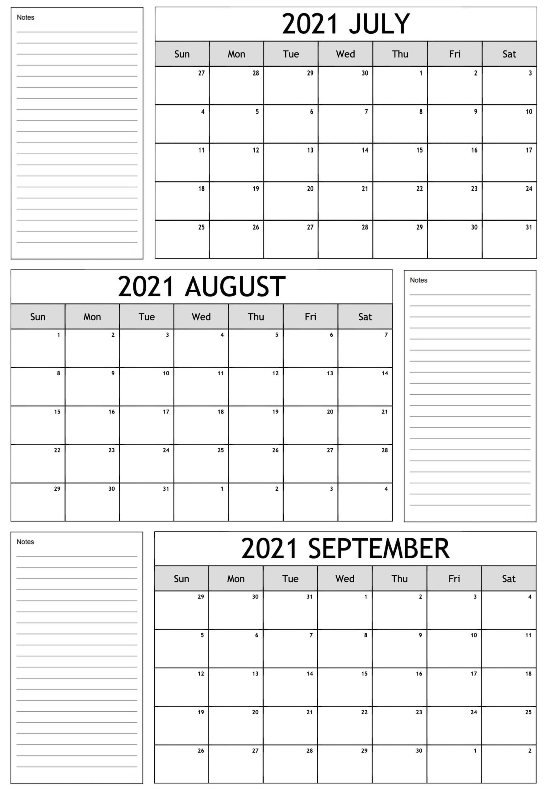 2021 July To September Calendar Free