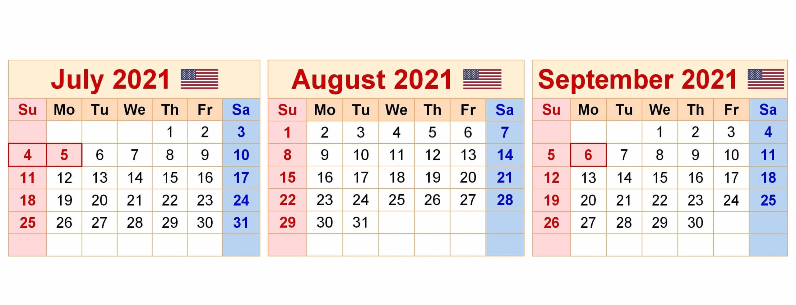 2021 July To September Calendar JPG