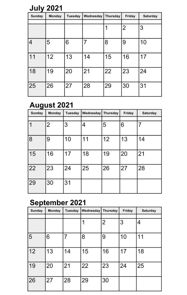 2021 July To September Calendar With Notes