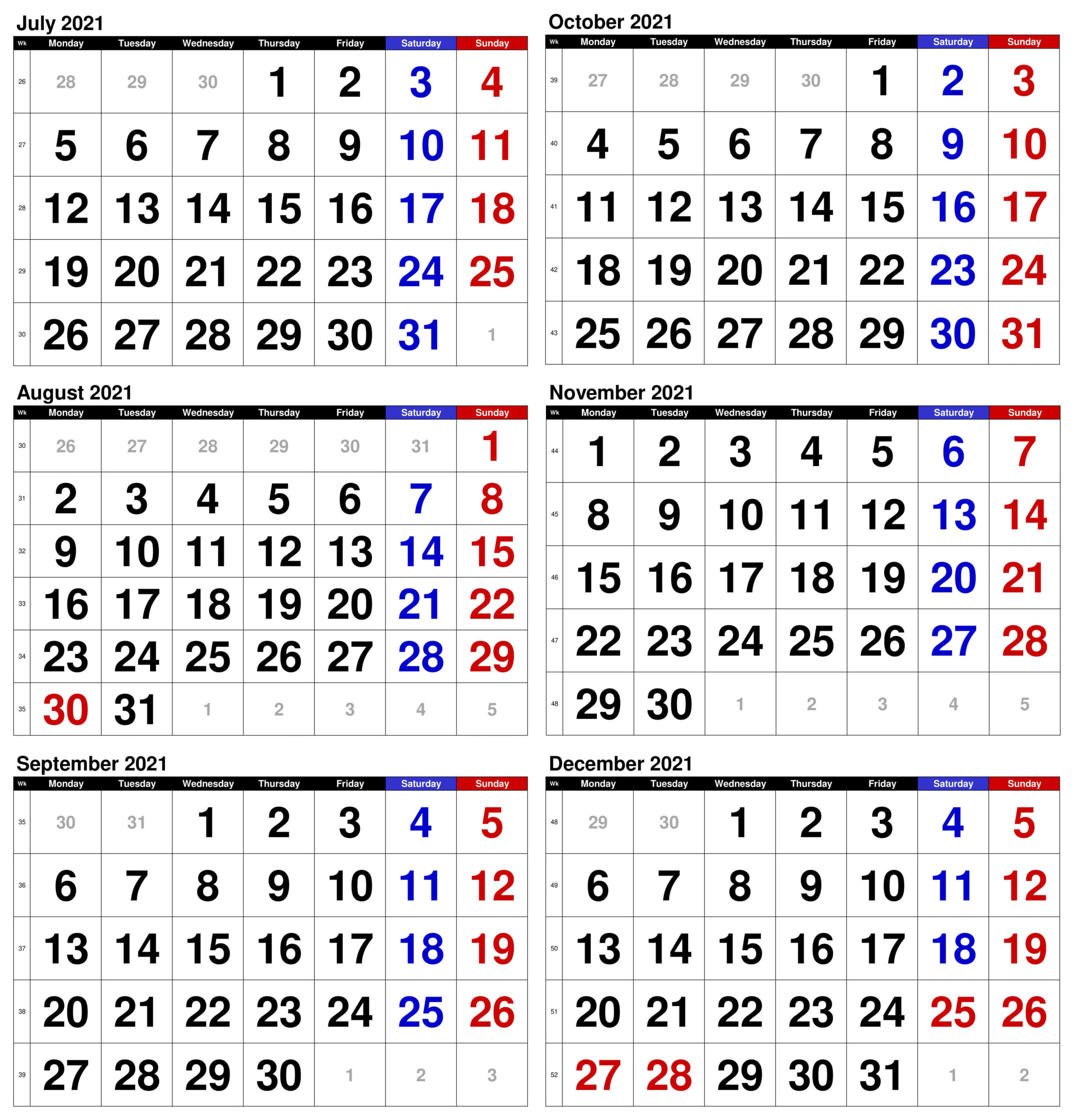 2021 July to December Calendar Excel