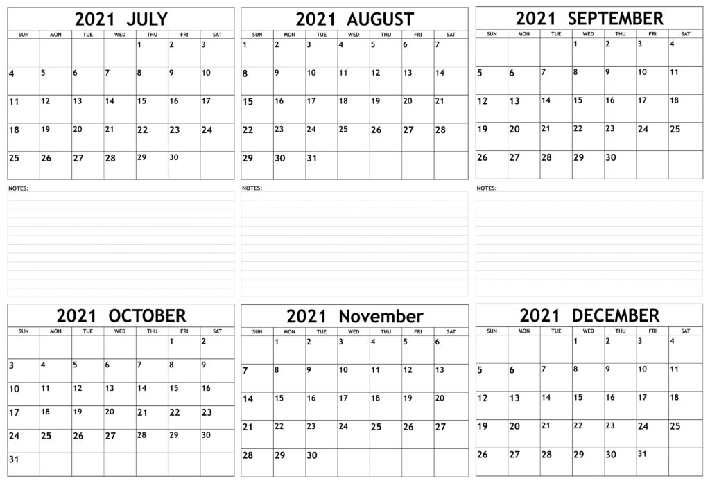 2021 July to December Calendar With Note