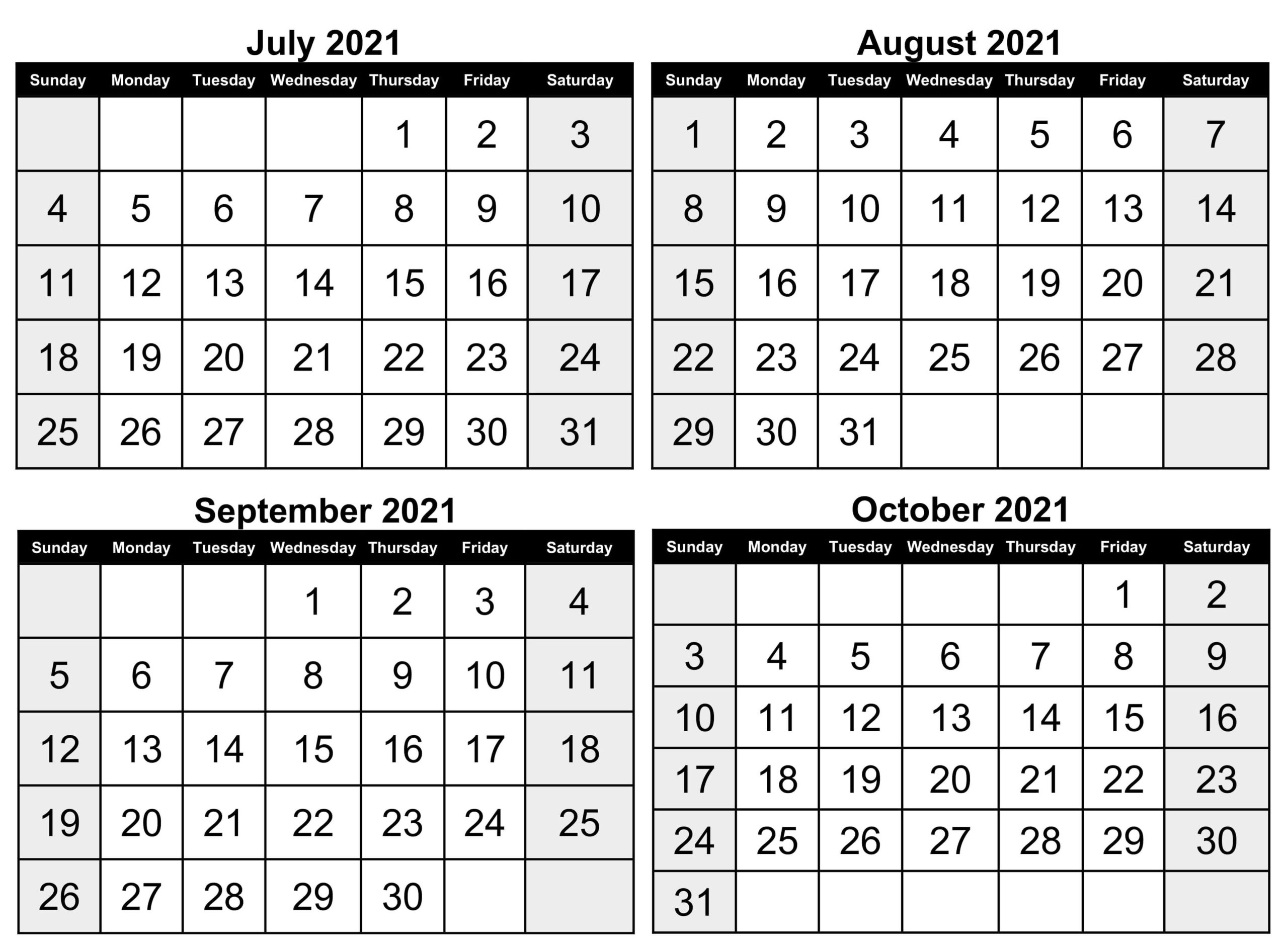 2021 July to October Calendar JPG