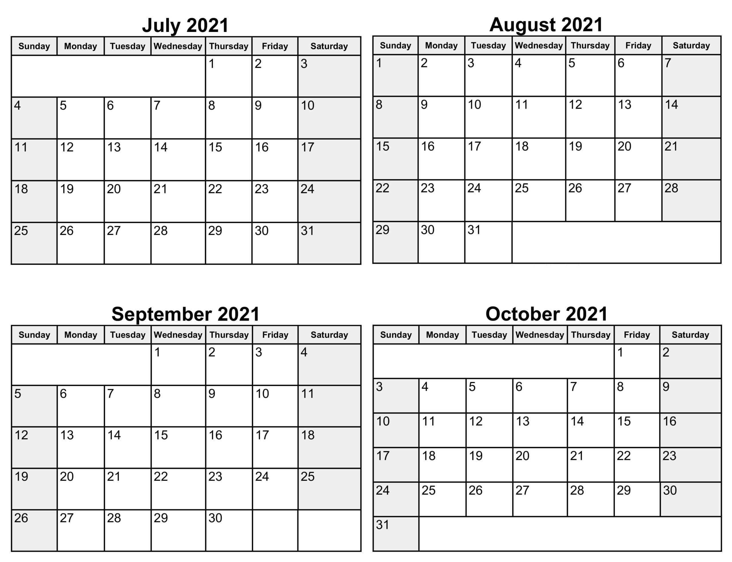 2021 July to October Calendar
