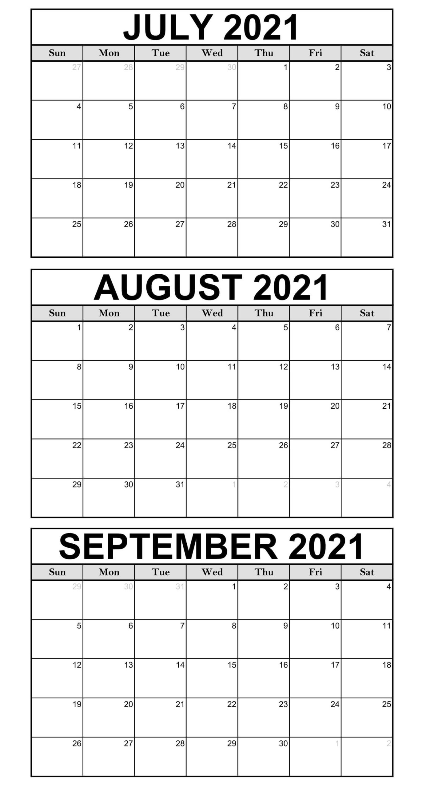 3 Month Calendar From July 2021