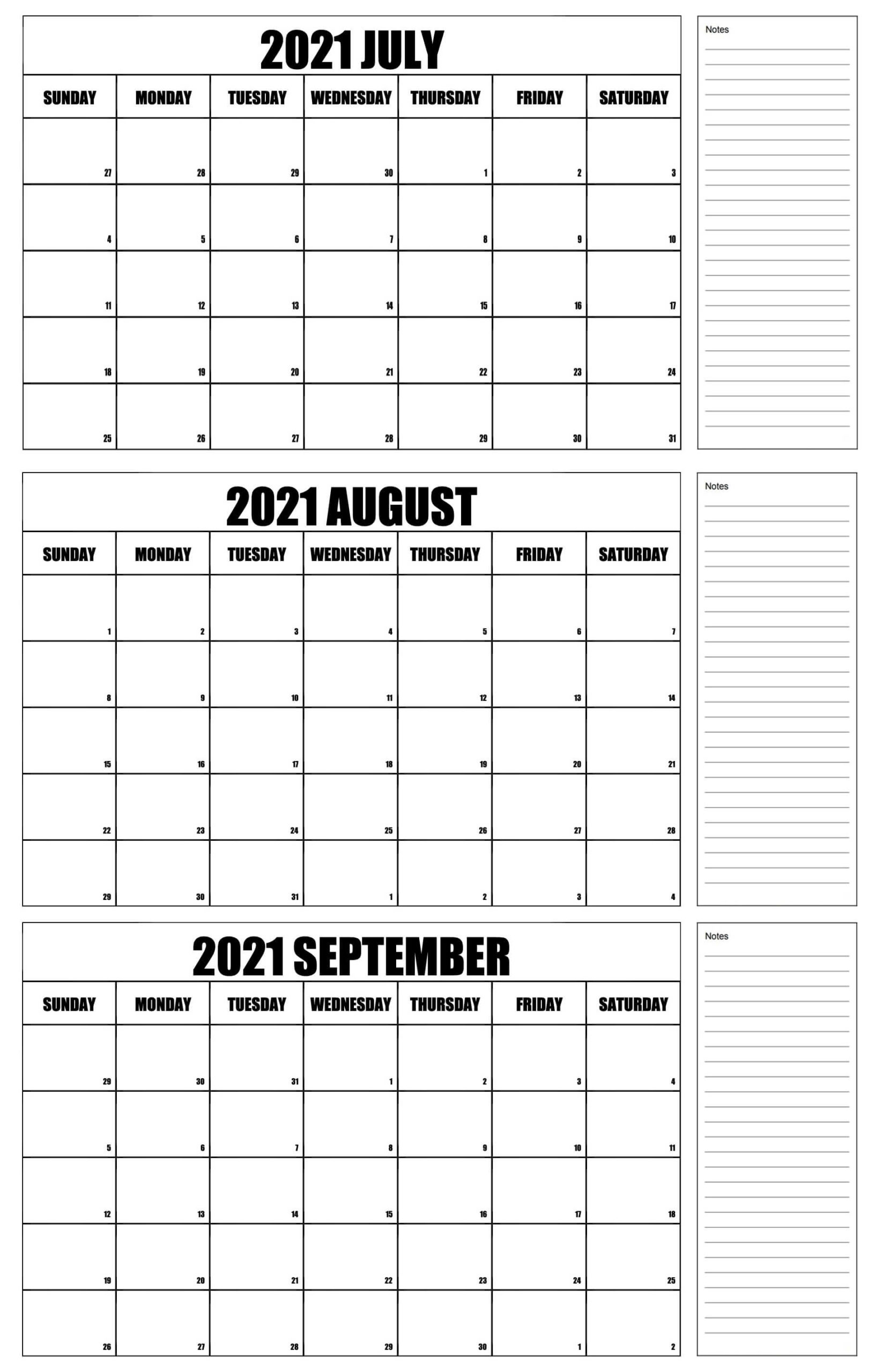 Blank July To September 2021 Calendar