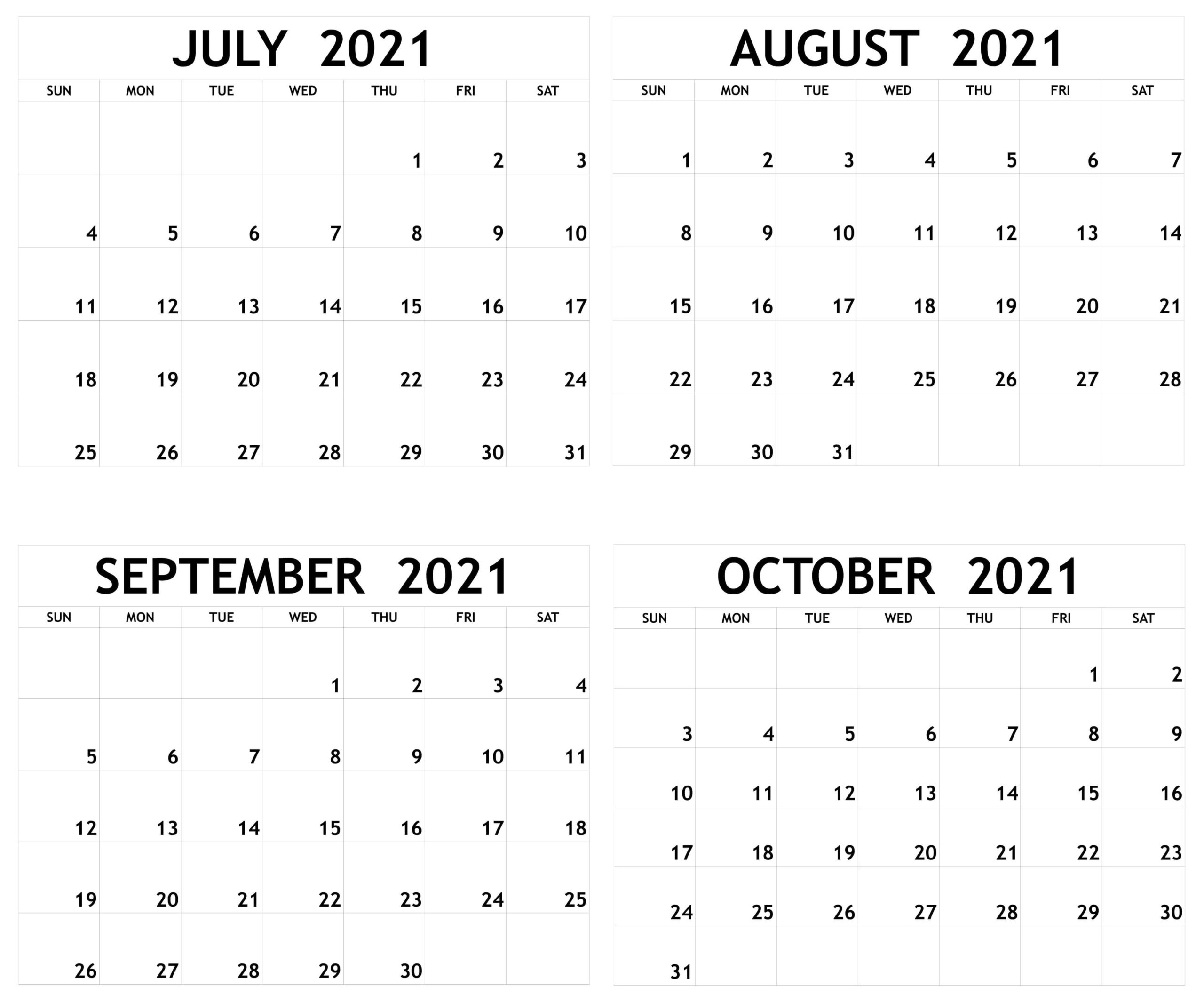 Blank July to October 2021 Calendar