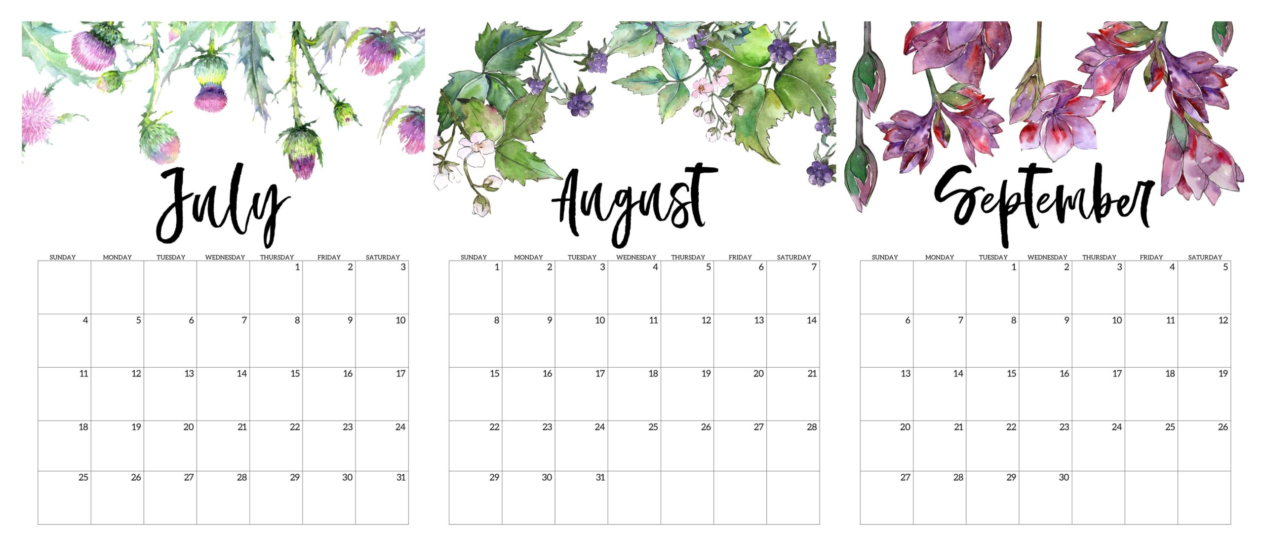 Cute 2021 July To September Calendar