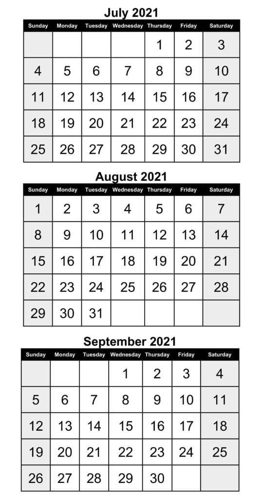 Free July To September 2021 Calendar