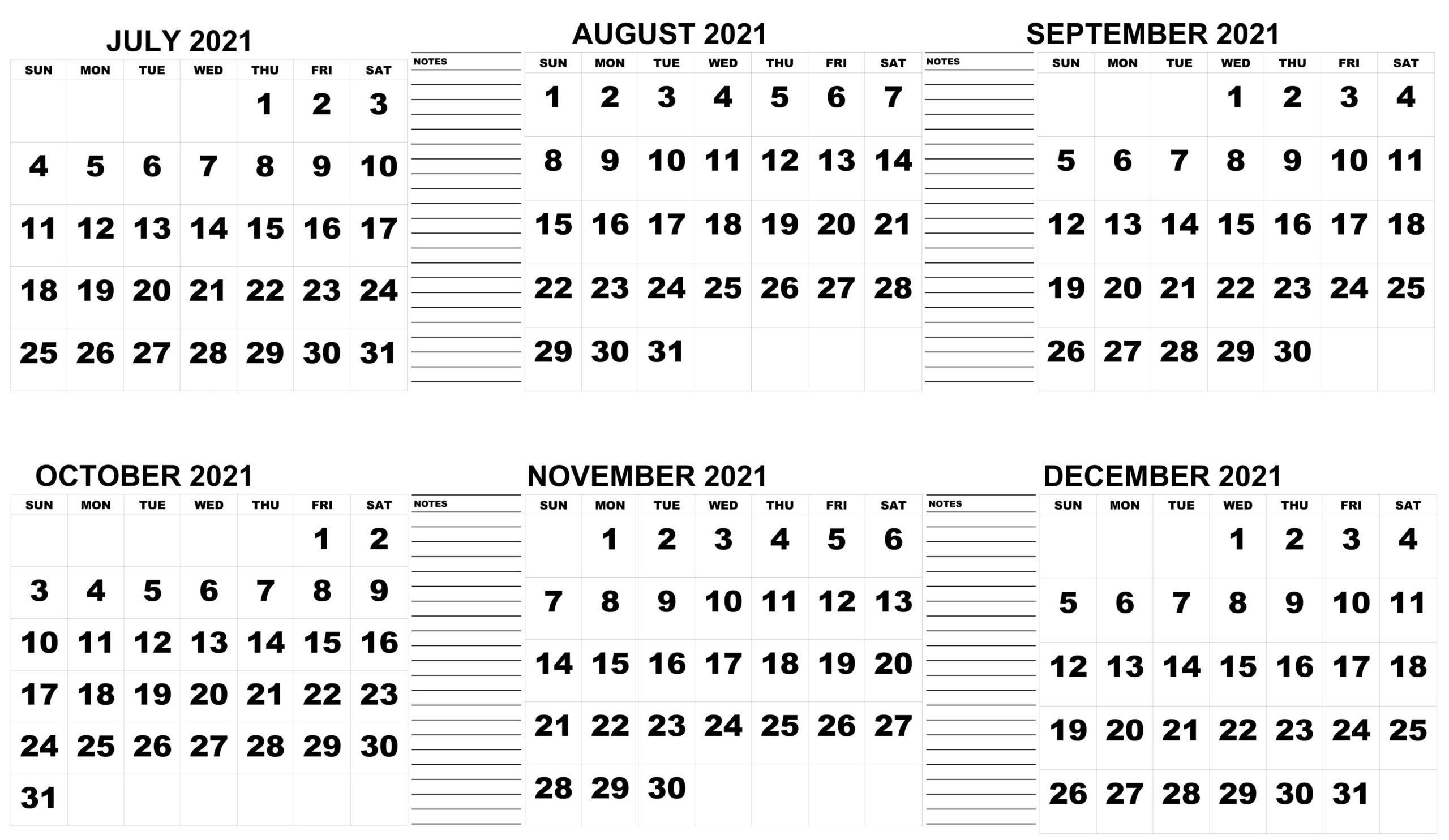 Half-yearly Calendar From July 2021