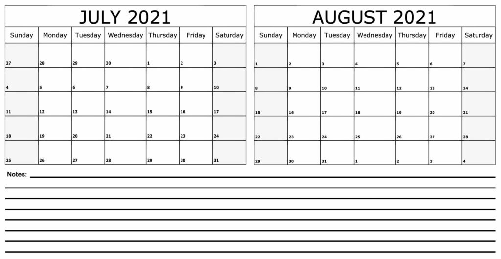 July August 2021 Calendar With Notes