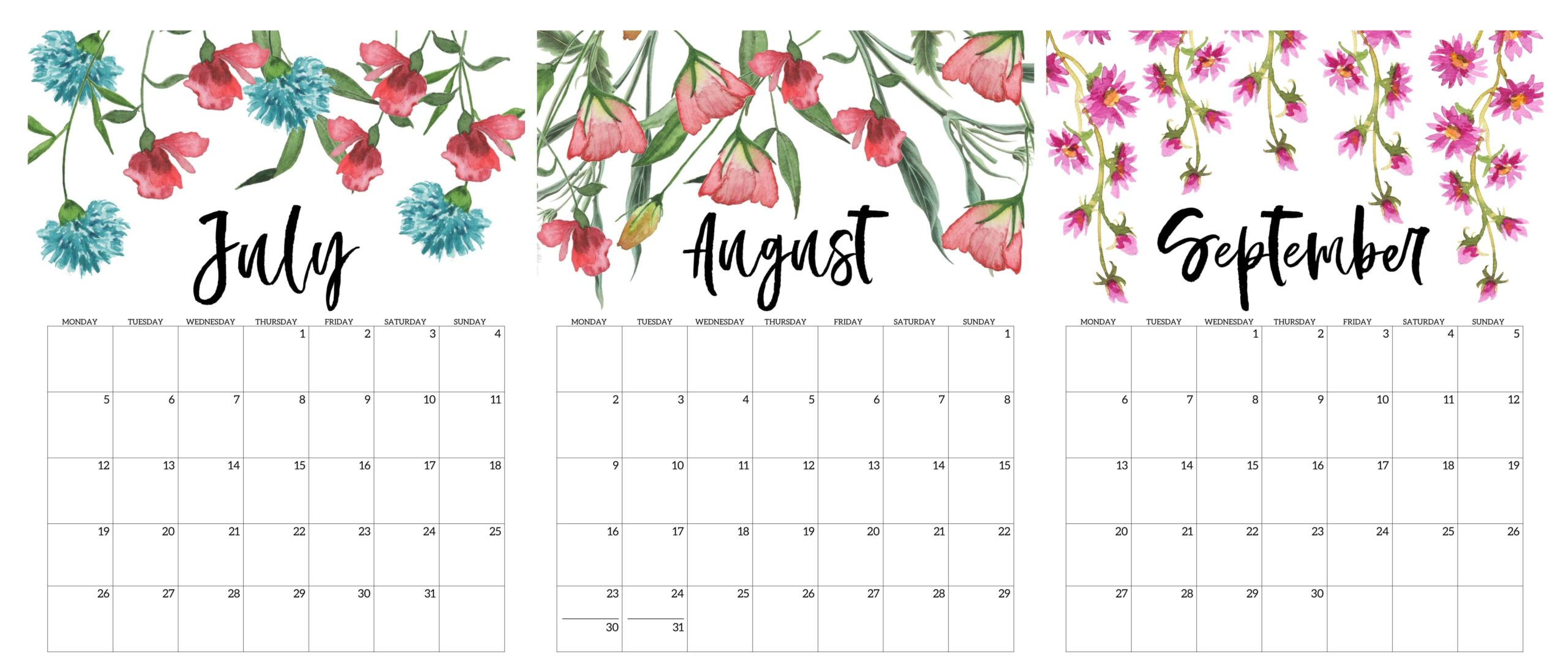 July To September 2021 Calendar Cute