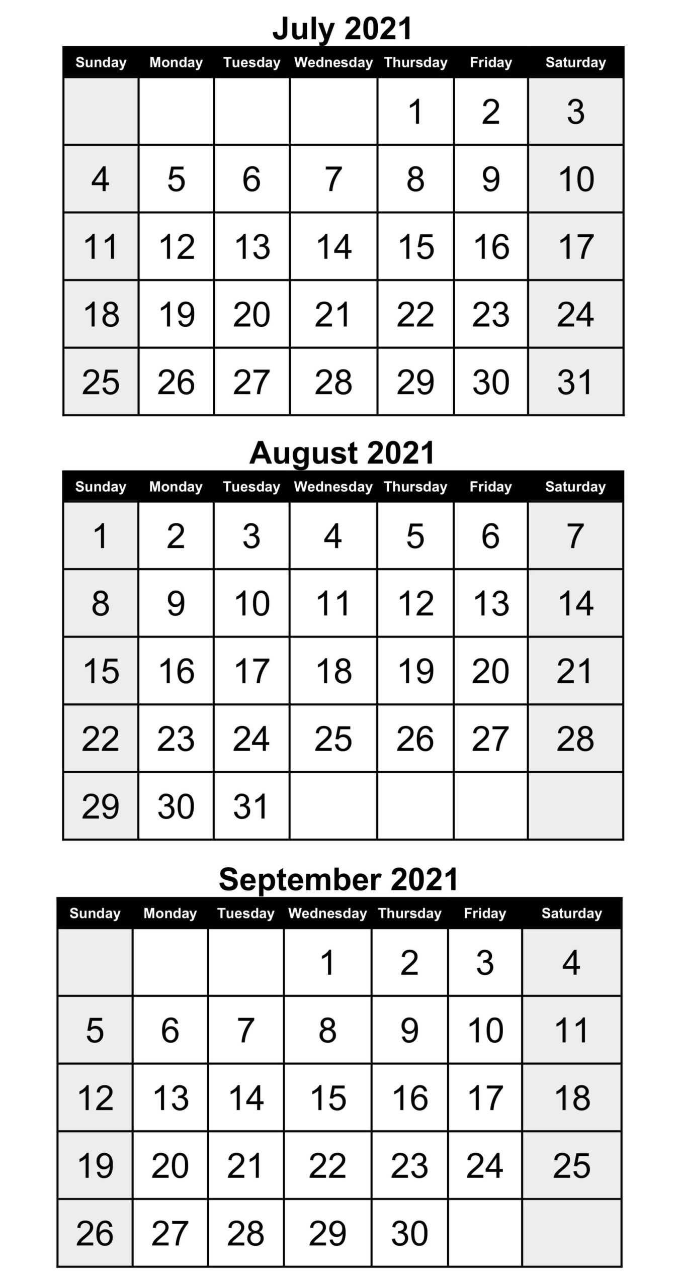 July To September 2021 Calendar Template