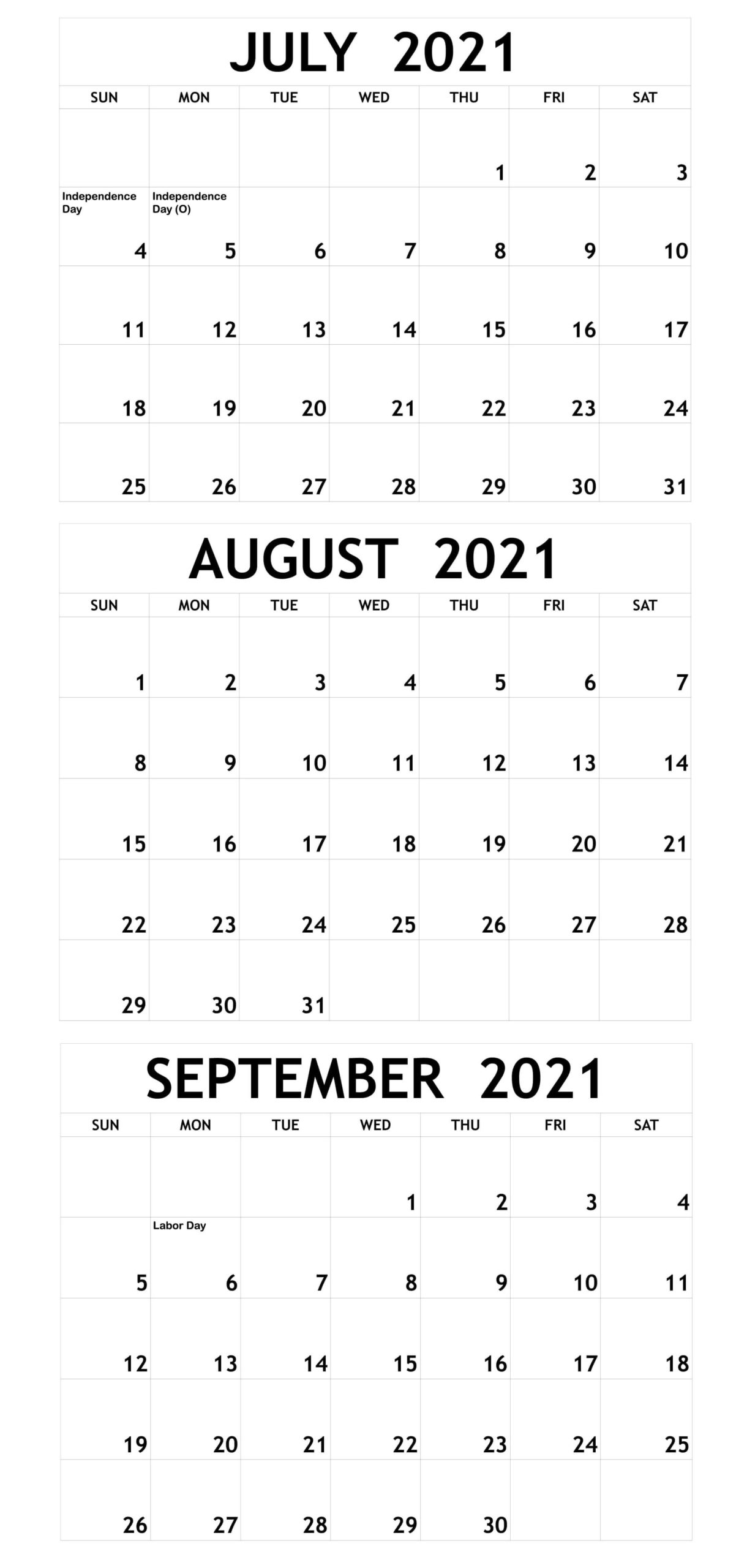 July To September 2021 Calendar With Holidays