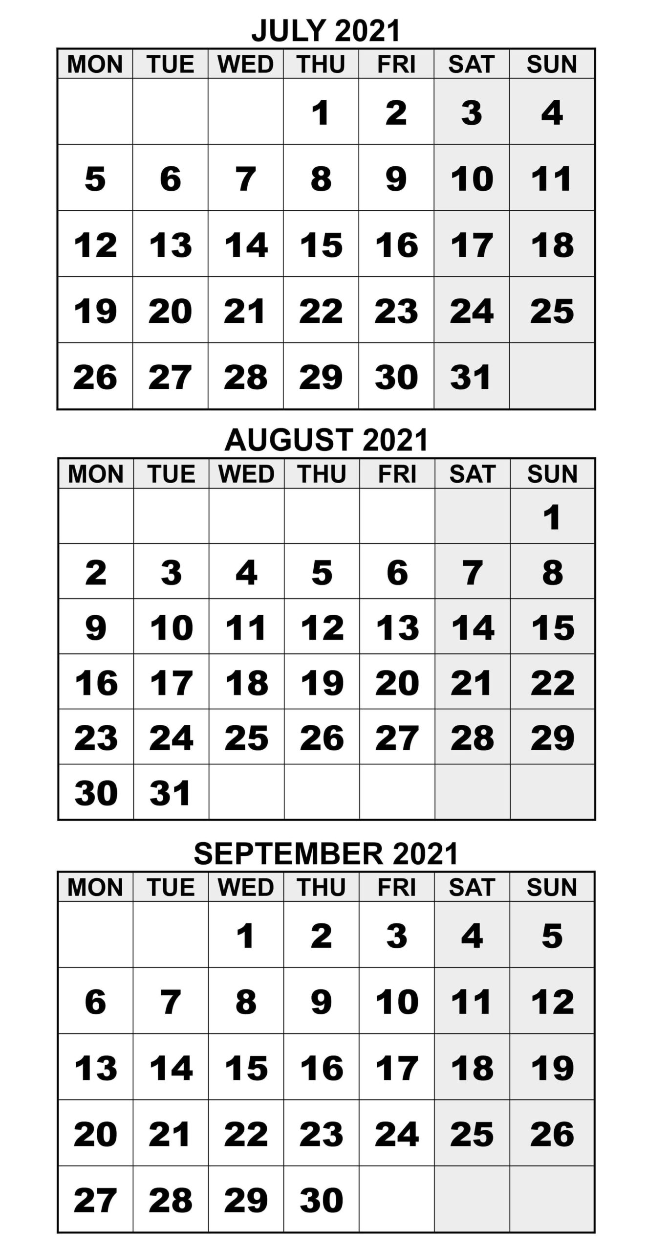 July To September 2021 Calendar Word